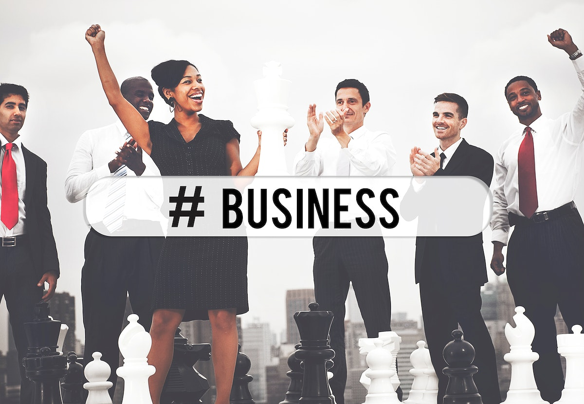 Hashtag business word with group of business people success