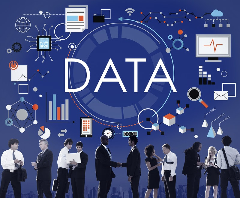 People discussing over big data gathered; Data Information Statistics Technology Analysis Concept