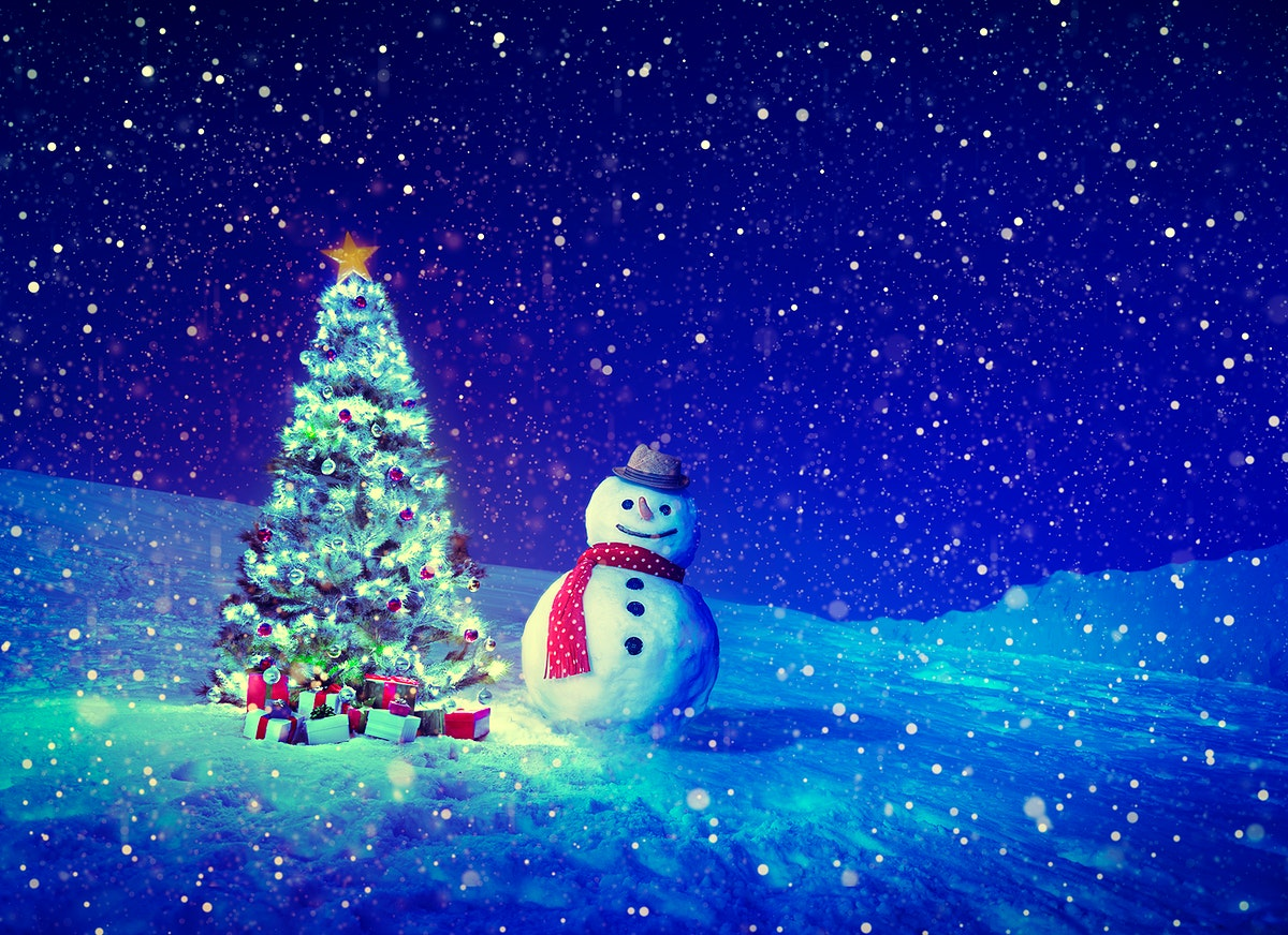 Snowing christmas holiday celeration with snowman and pine trees