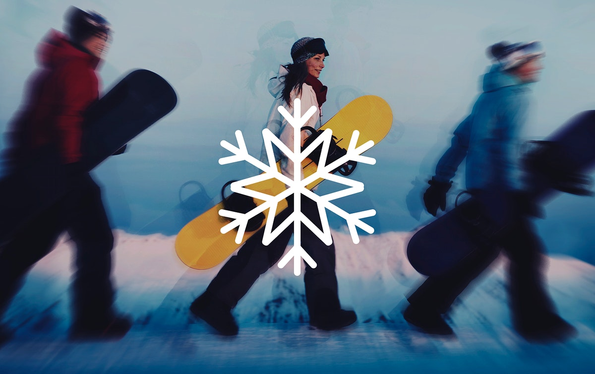 Snowflake illustration shape on group of snowboarders