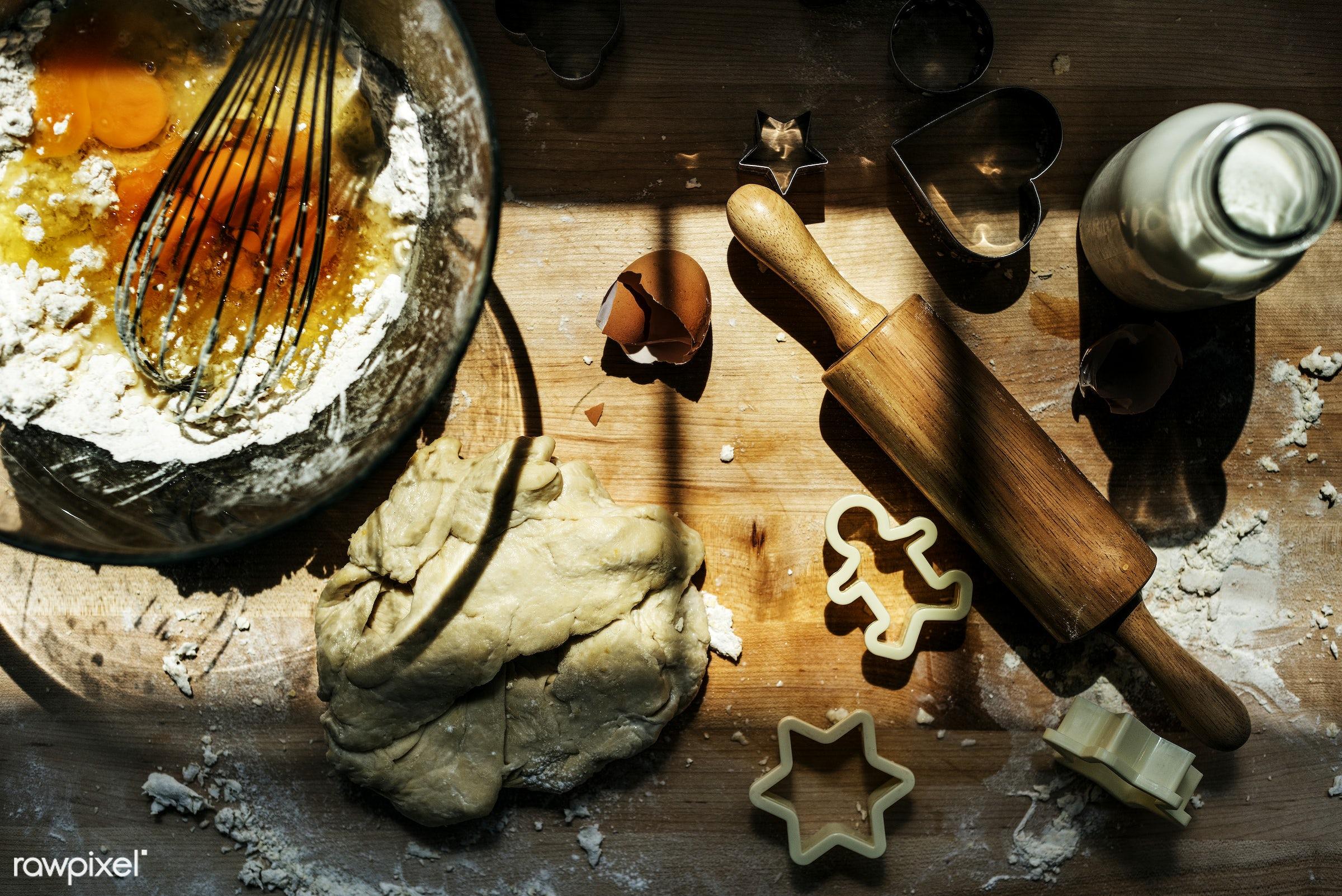 Baking preparation - bakery, cake, baker, bake, bake shop, baking, butter, closeup, cookies, cooking, dessert, dough,...