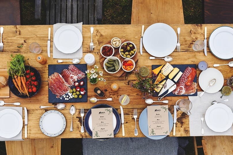 Dining Table Setting Food Concept