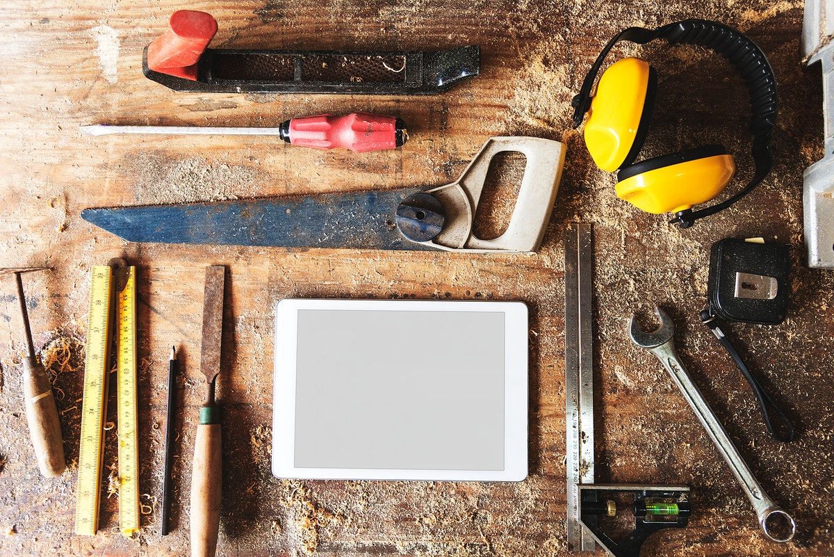 Tools for woodworks with copy space