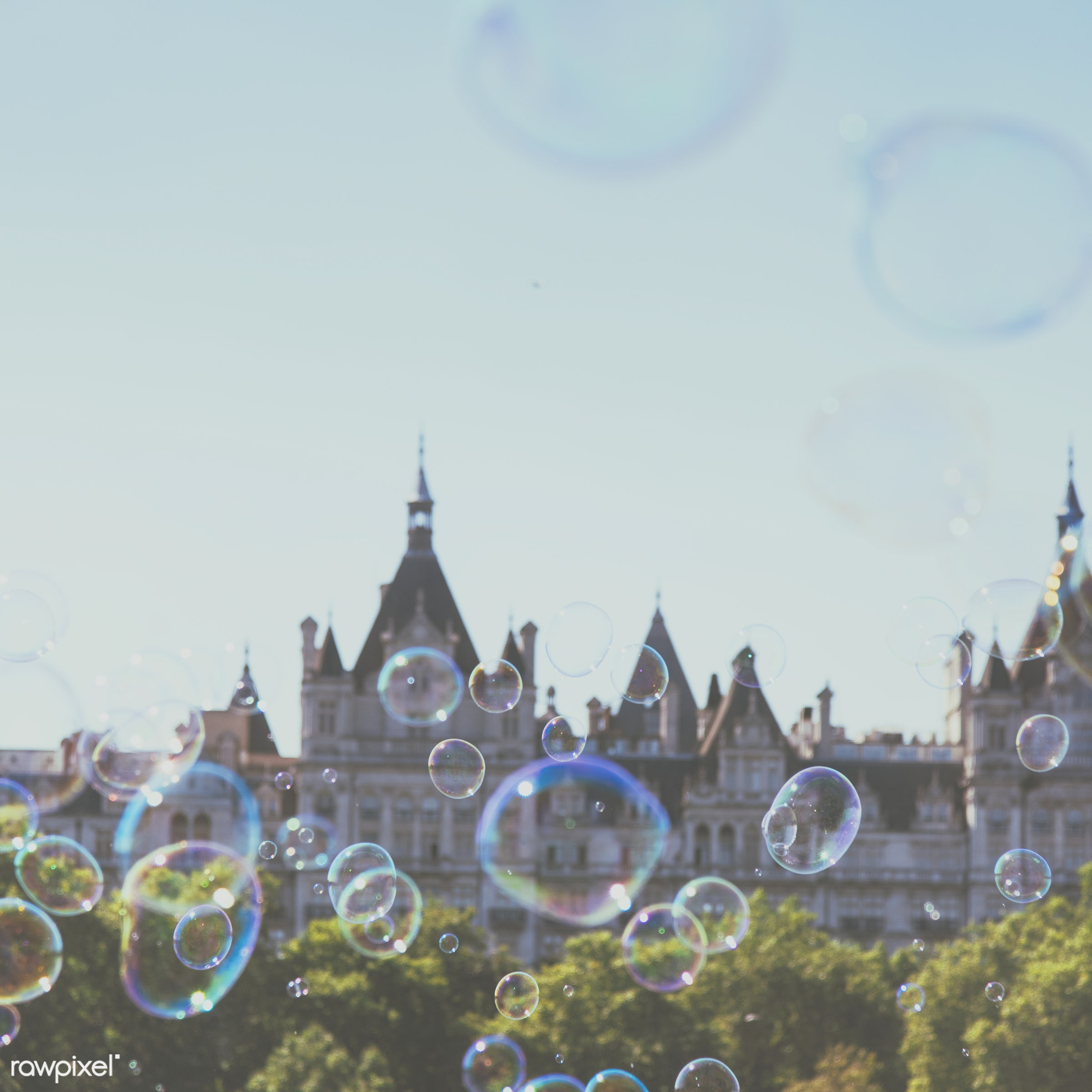 Bubbles with Parliament building on the background - air, architecture, background, ball, blowing, building, circle, city,...