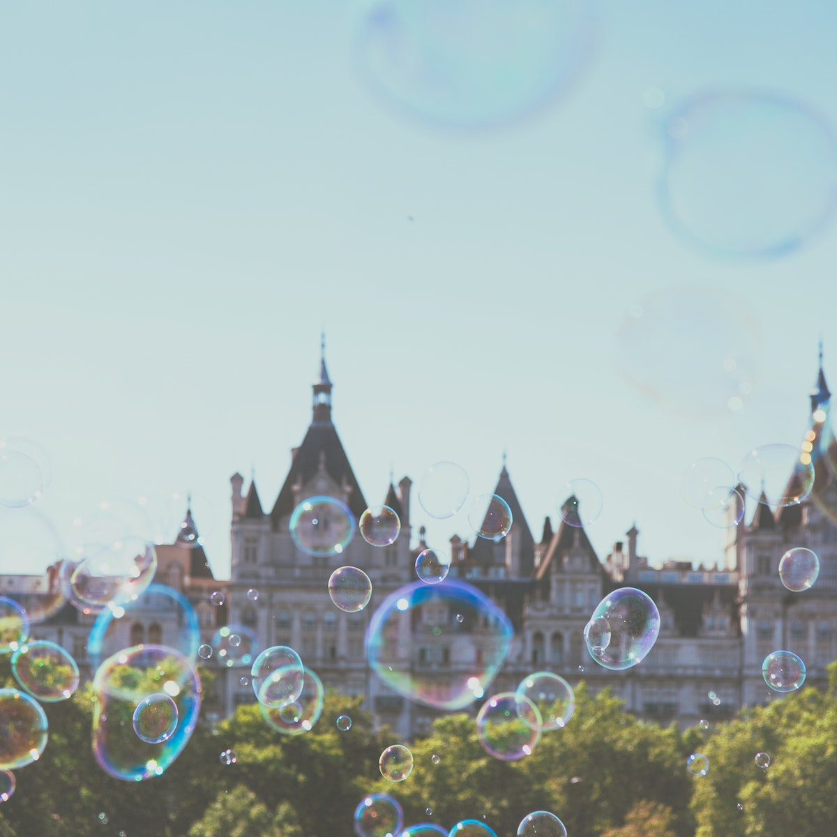 Bubbles with Parliament building on the background