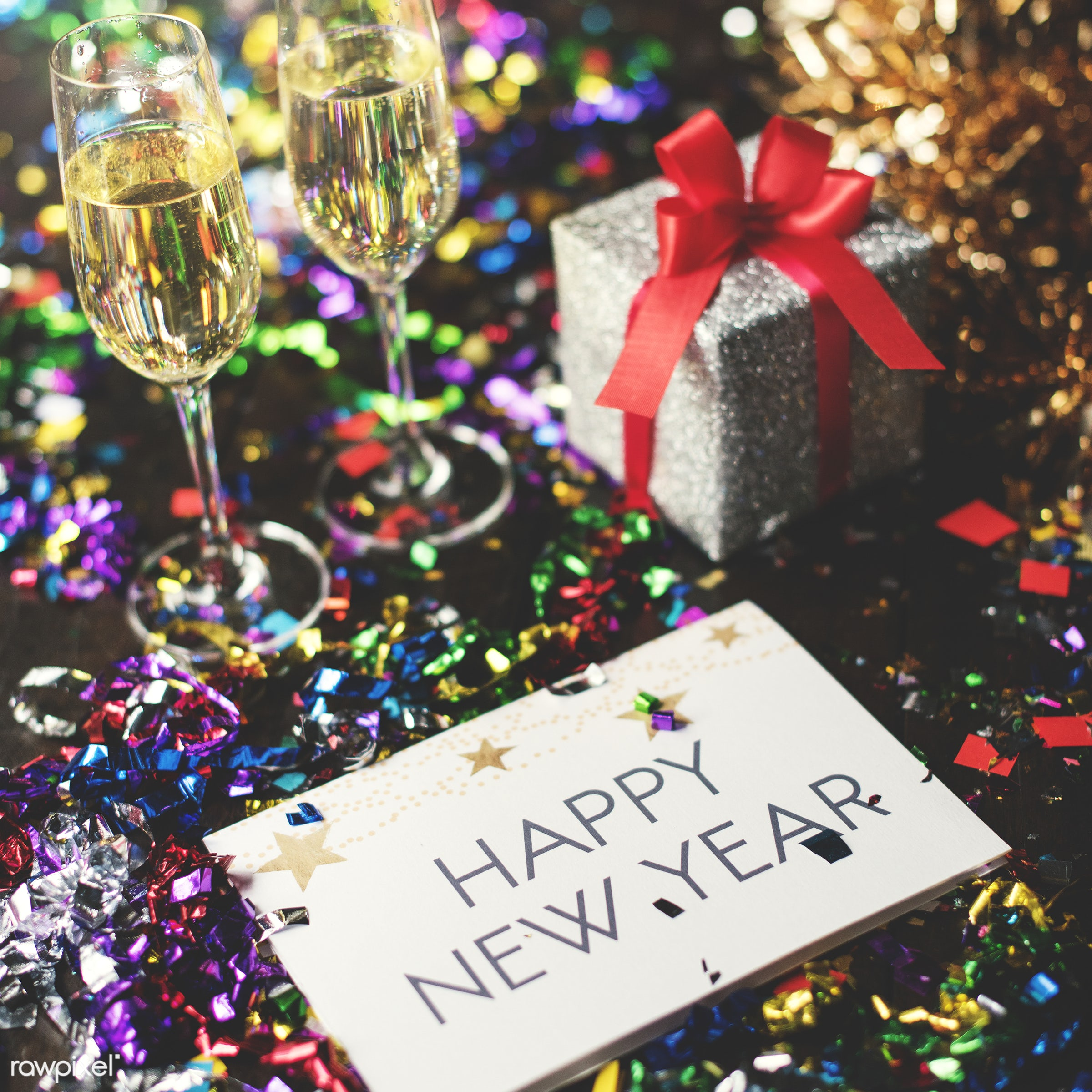 aerial view, card, celebrate, celebrating, celebration, champagne, closeup, decoration, gift, glasses, happy new year,...
