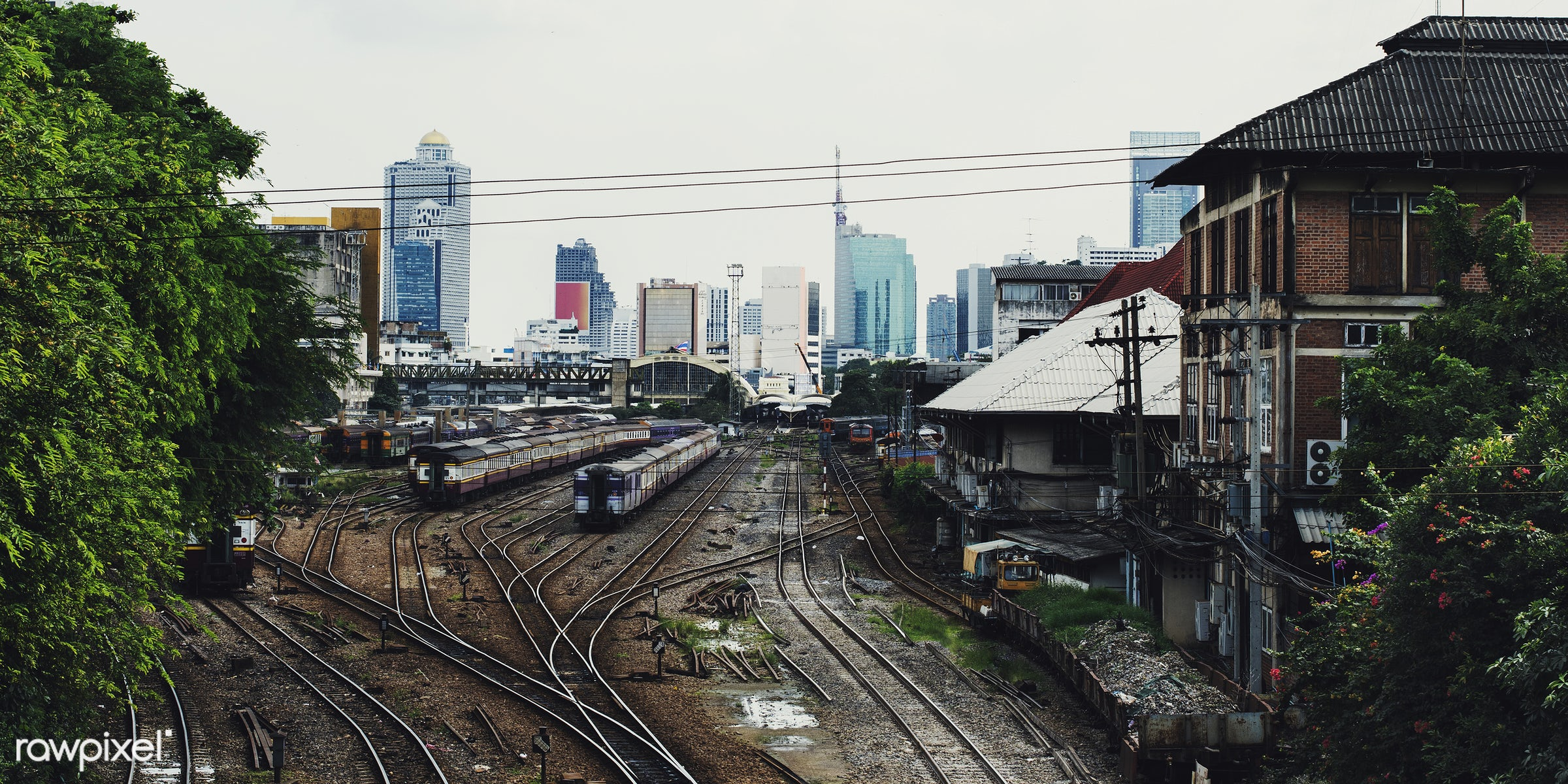 Railroad tracks at Hua Lampong station in Bangkok Thailand - arrival, building, capital cities, carriage, city, classic,...