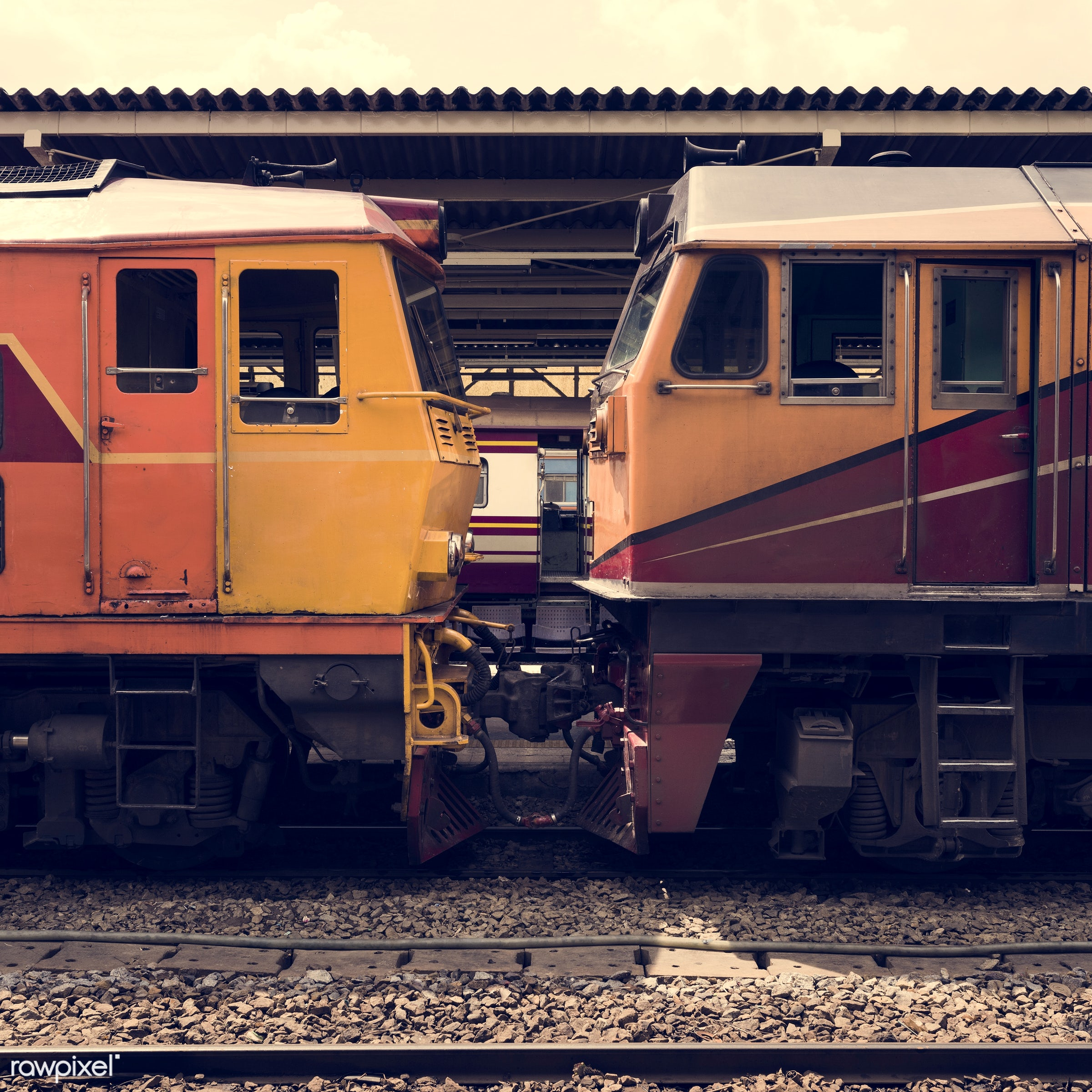 Old trains at Hua Lampong train station in Bangkok Thailand - arrival, capital cities, carriage, classic, commuters, design...