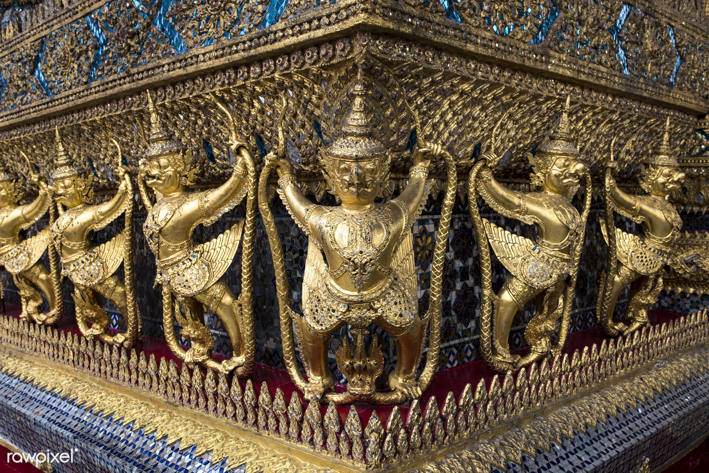 thailand, gold, exotic, thai, angel, art, asia, asian, attraction, bangkok, buddhism, buddhist, colorful, decorated, detail...