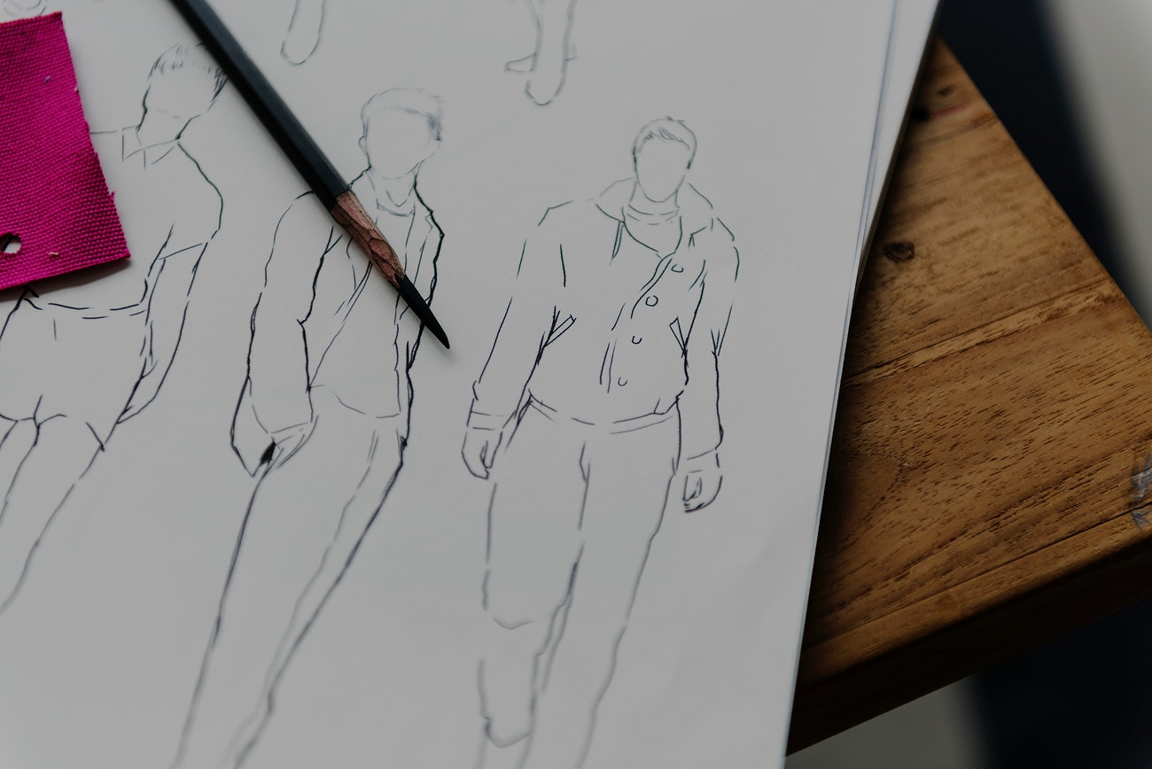 Fashion Designer Sketch Drawing Costume Concept Royalty Free Photo 13111