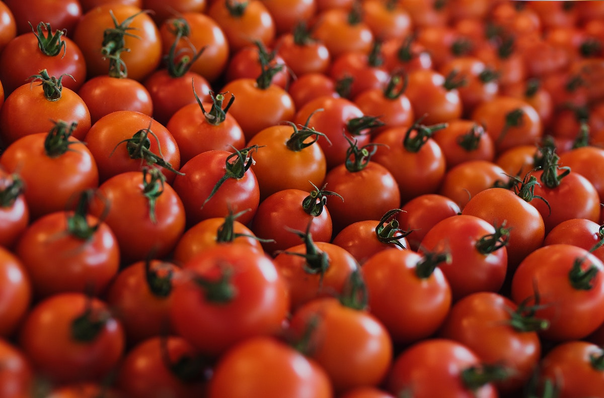 A bunch of fresh tomato produce
