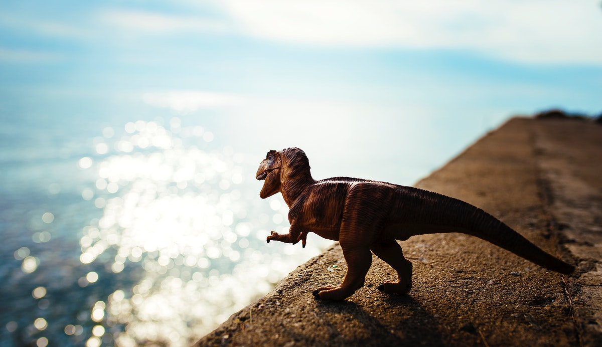 Tyrannosaurus rex toy overlooking from a cliff