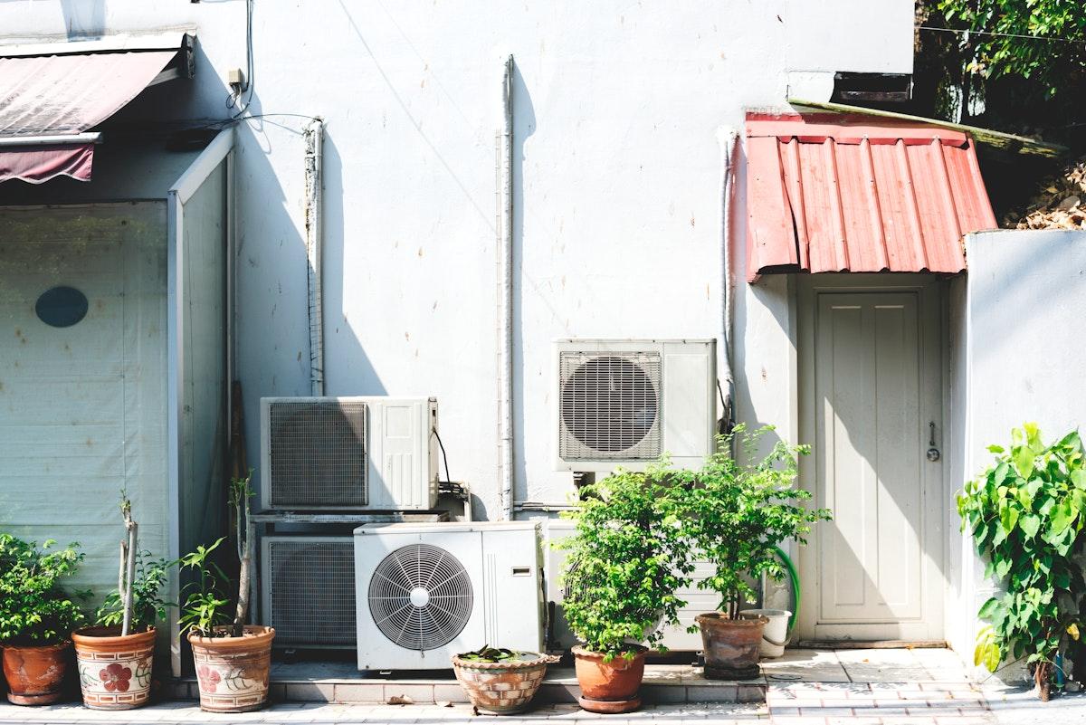 Home exterior fan conditioner equipment backyard