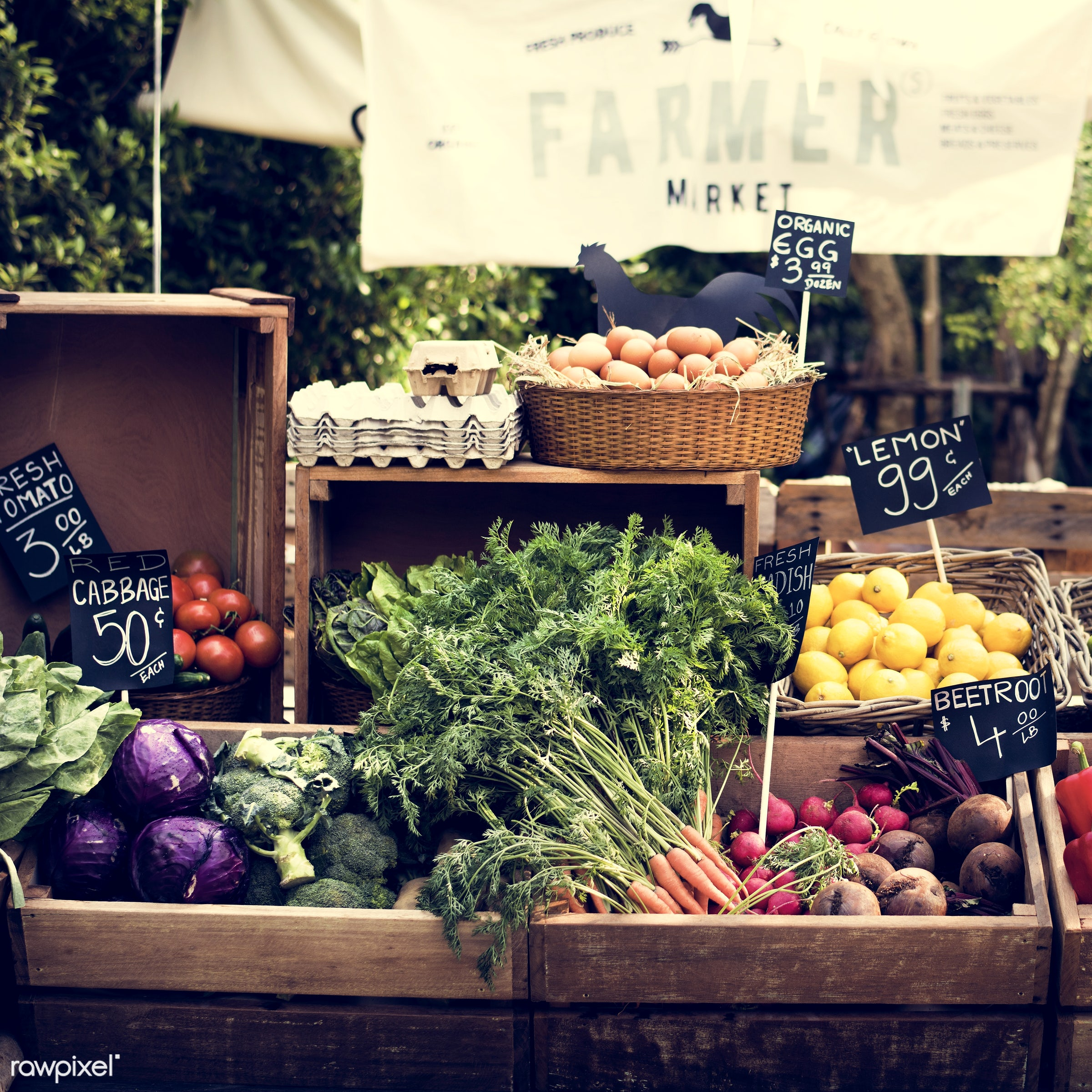 shop, stall, consumer, farmer, display, fair, tomatoes, sign, nutrition, eggs, market, price, cabbage, food, outdoors, trees...