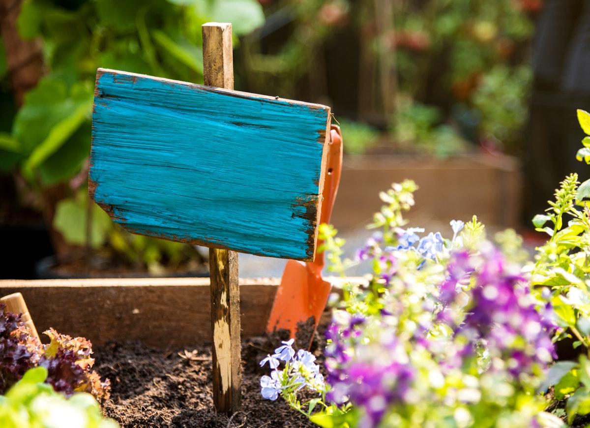 Freshness flower garden crate with wooden banner