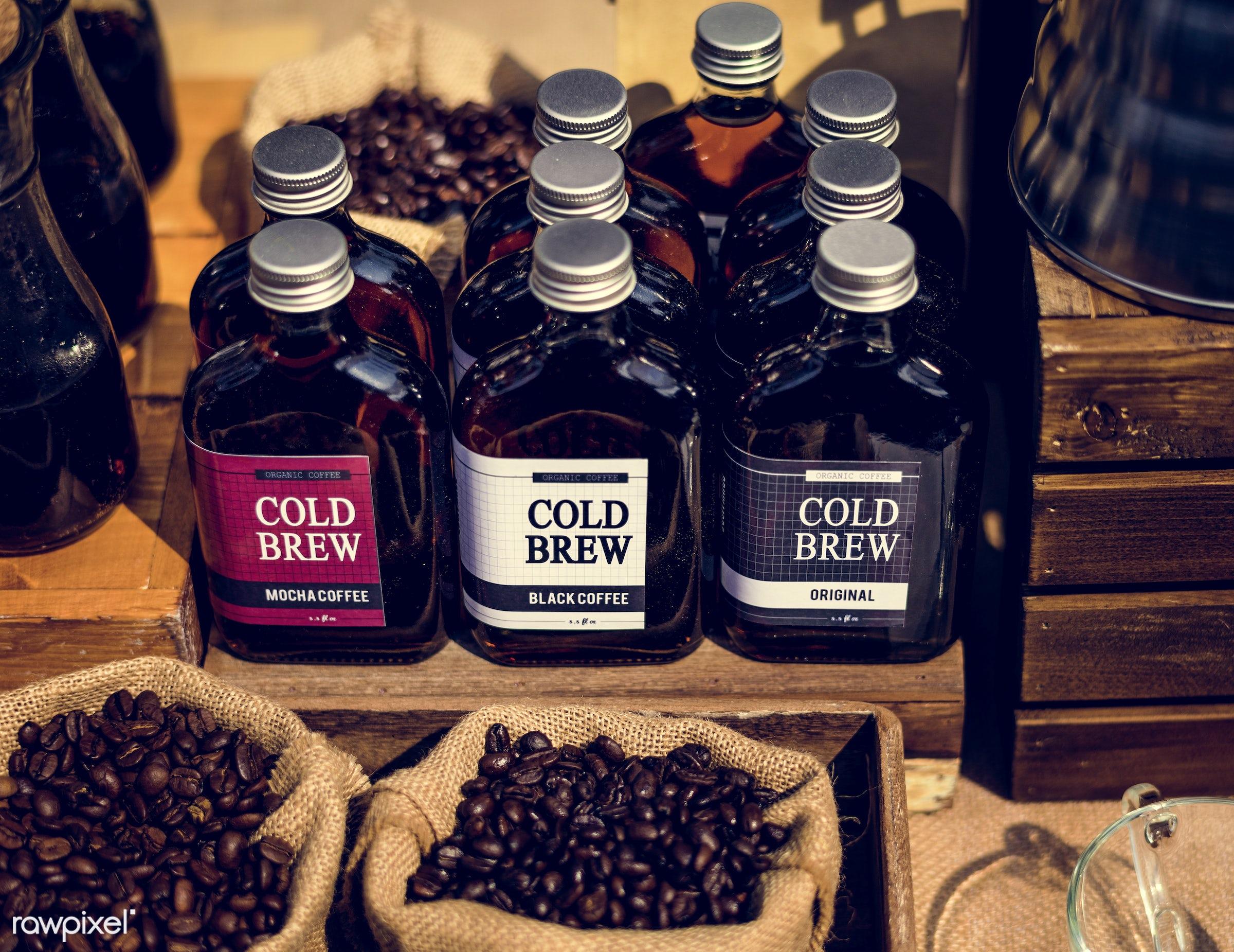 mocha, nobody, shop, press, caffeine, stall, store, wood, retro, refreshing, sacks, sell, fresh, beans, drink, glass,...