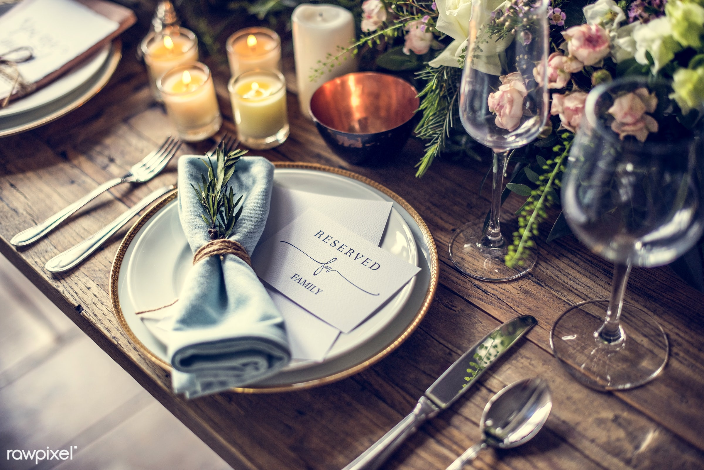 dish, nobody, fancy, for, cutlery, spoon, silverware, party, tablecloth, family, event, candles, banquet, card, lunch,...