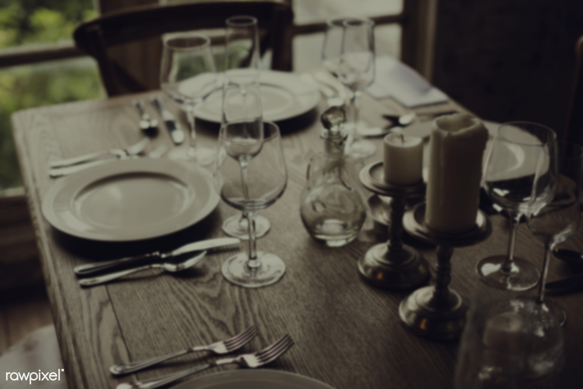 nobody, glasses, occasion, party, setting, candle, knife, table setting, table, dinner, reception, forks, plates, wooden,...