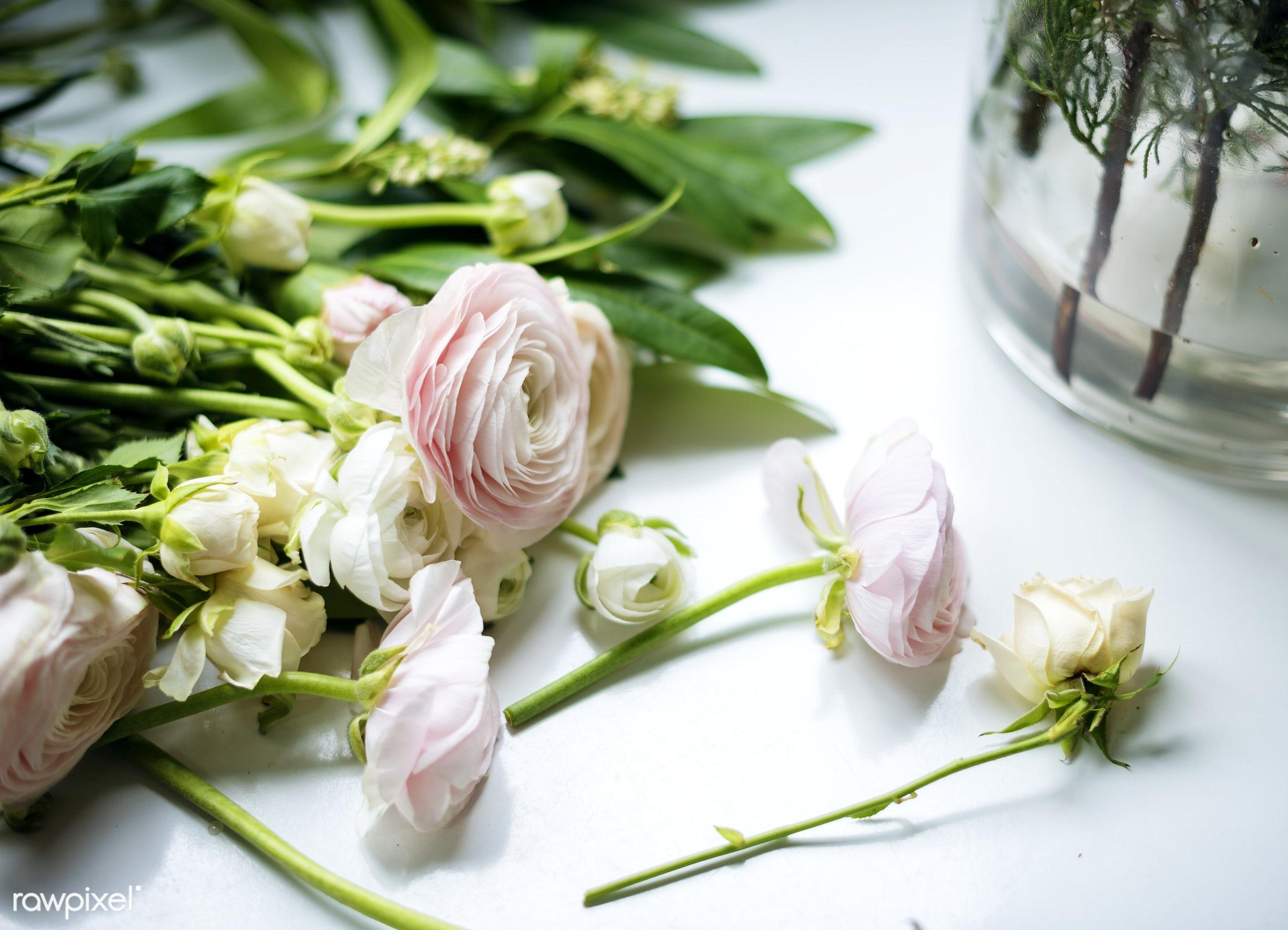 Fresh Roses Flowers Arrangement Decorative - shop, nobody, festive, ranunculus, detail, decorative, colorful, events, plants...