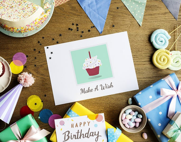 Birthday Celebration with Cake Presents Wishing Card