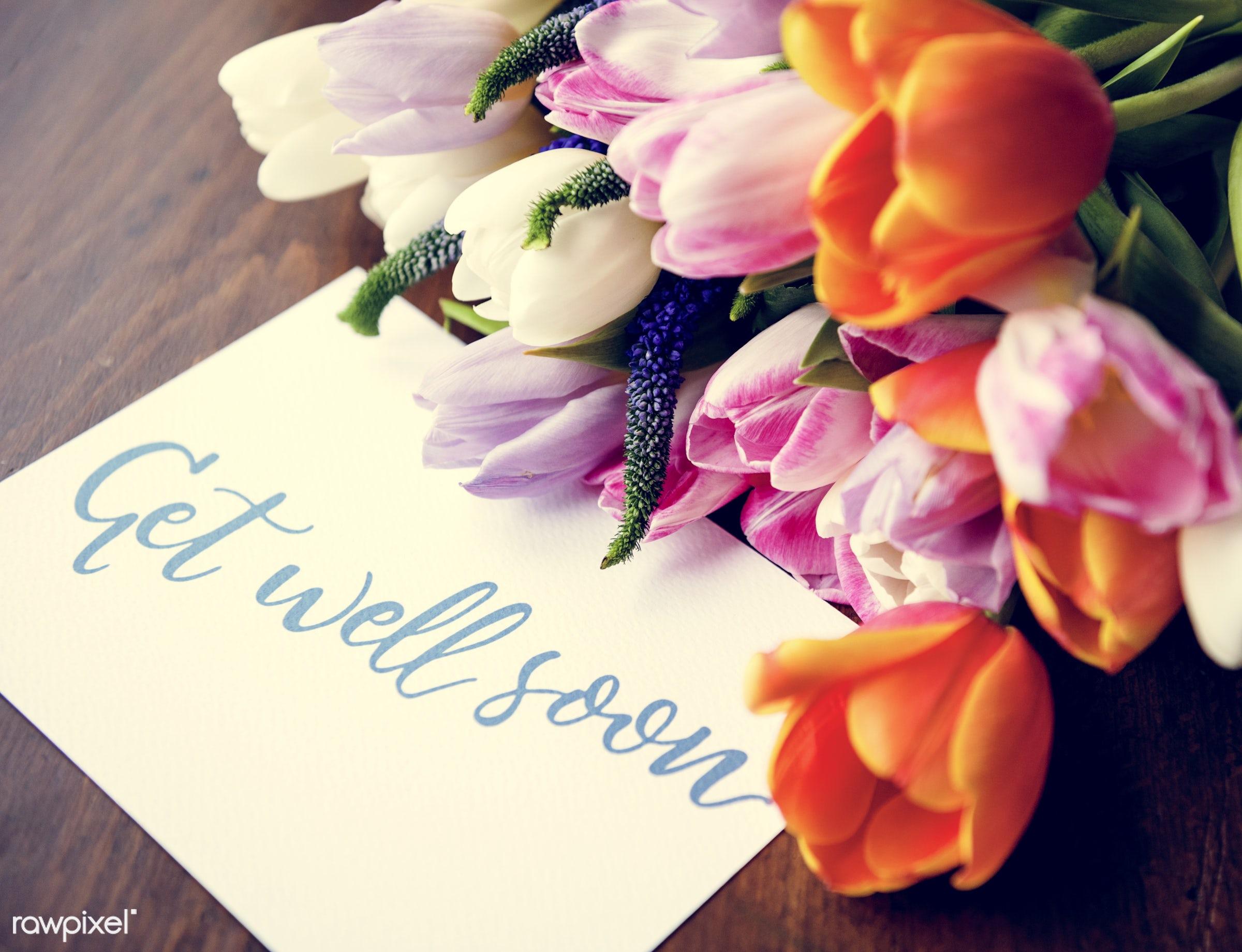 nobody, detail, wish, show, decor, love, nature, care, card, flowers, get, refreshment, florist, present, arrangement, tulip...