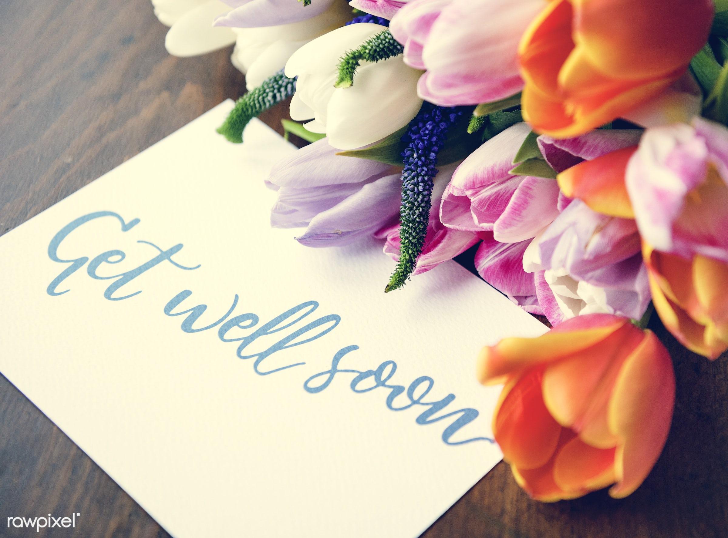 bouquet, paper, well, blossom, balance, fresh, wellness, get well, card, medicine, flower, note, text, get, greeting, health...