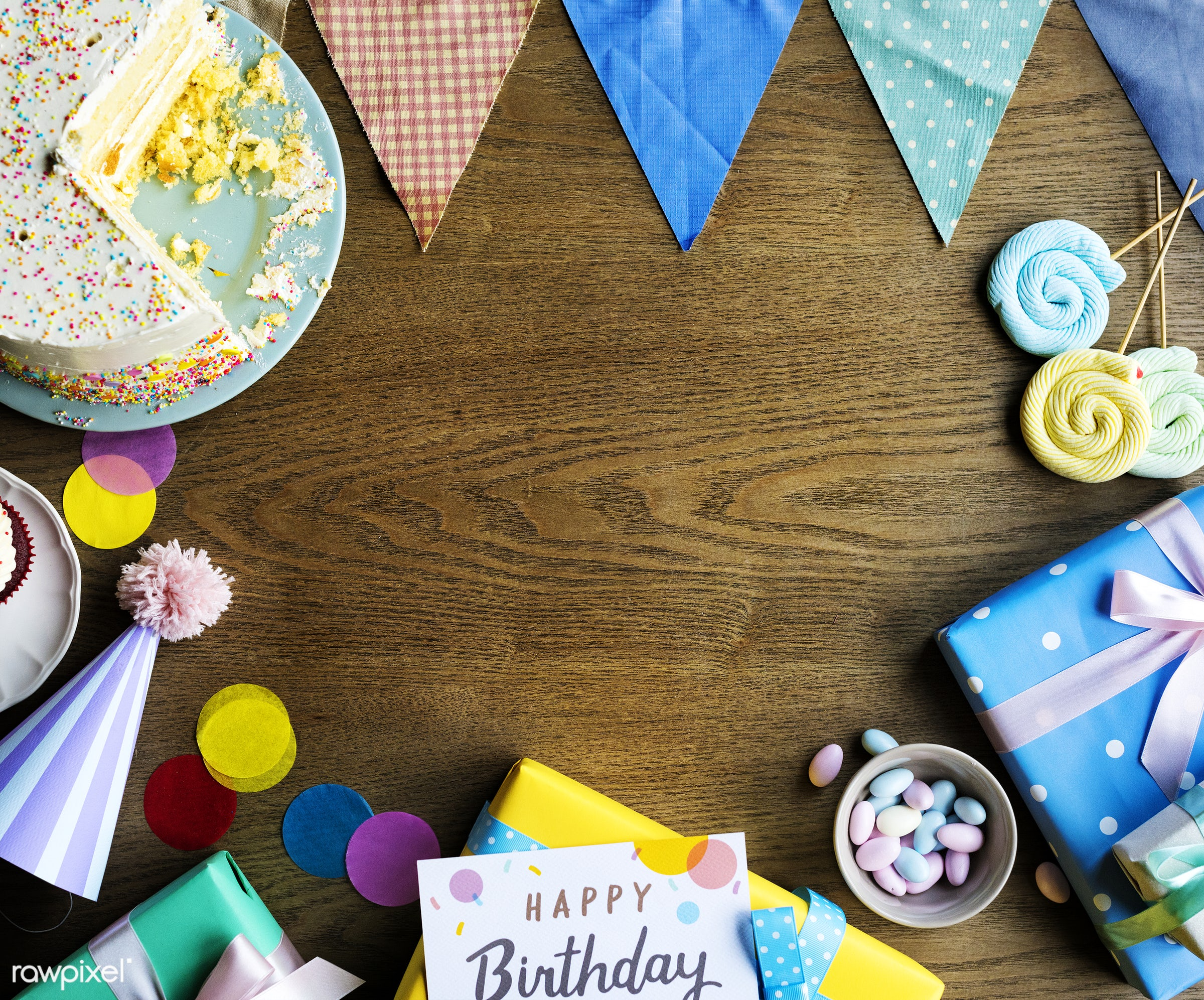 Birthday Celebration with Cake Presents Card Copy Space - birthday, nobody, copy space, gift, relax, occasion, show, party,...