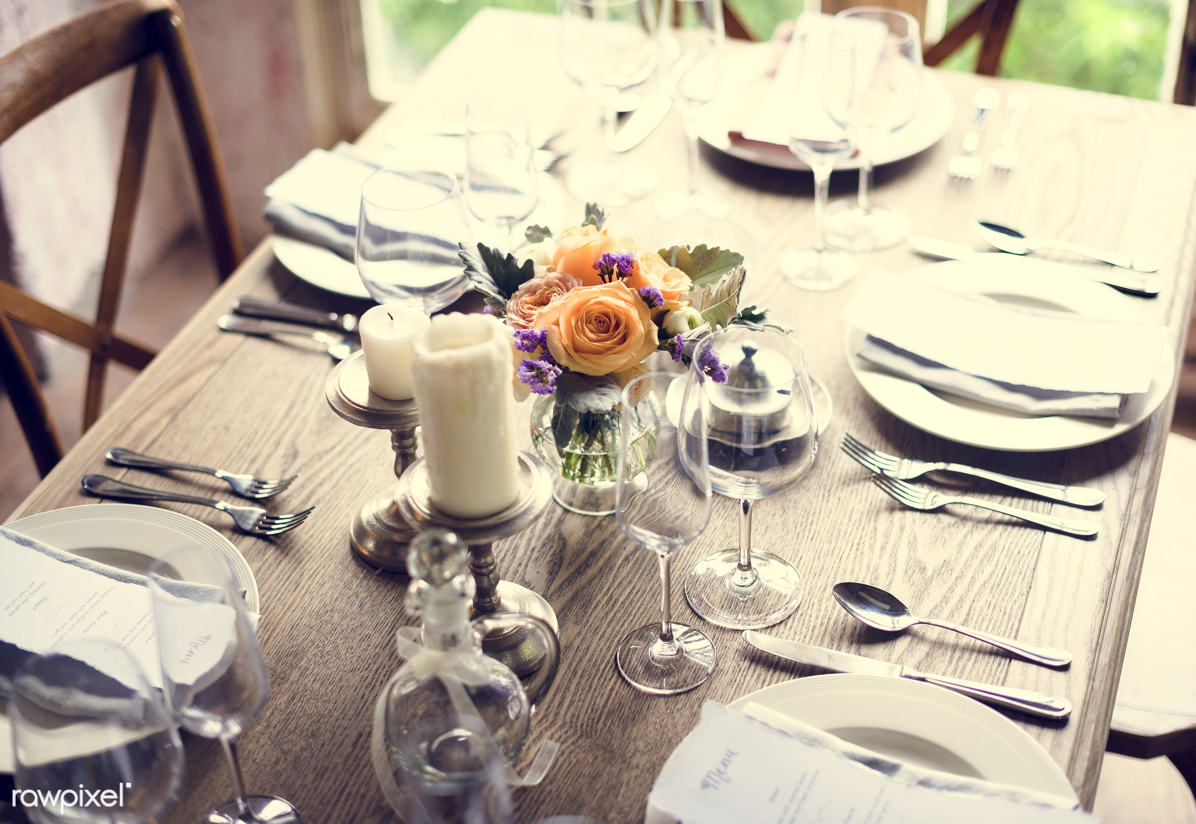 dish, nobody, fancy, cutlery, spoon, silverware, party, tablecloth, event, candles, card, banquet, lunch, flowers, knife,...