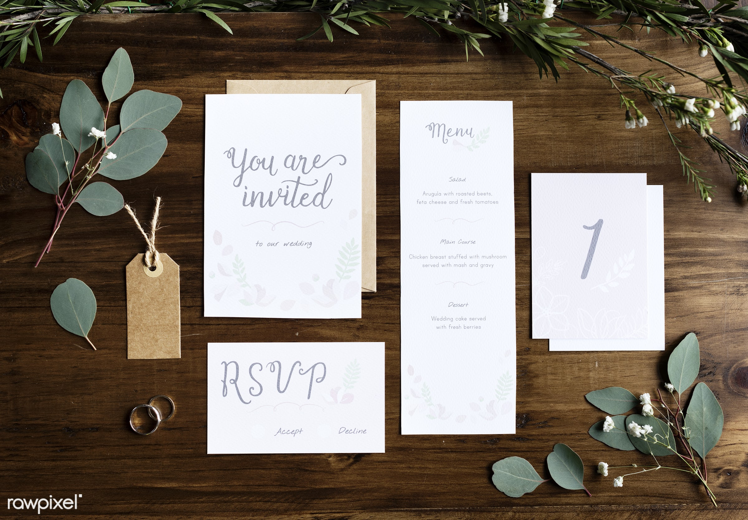 Wedding Invitation Cards Papers Laying on Table Decorate With Leaves - mockup, wedding, menu, recipe, marble, white, plant,...