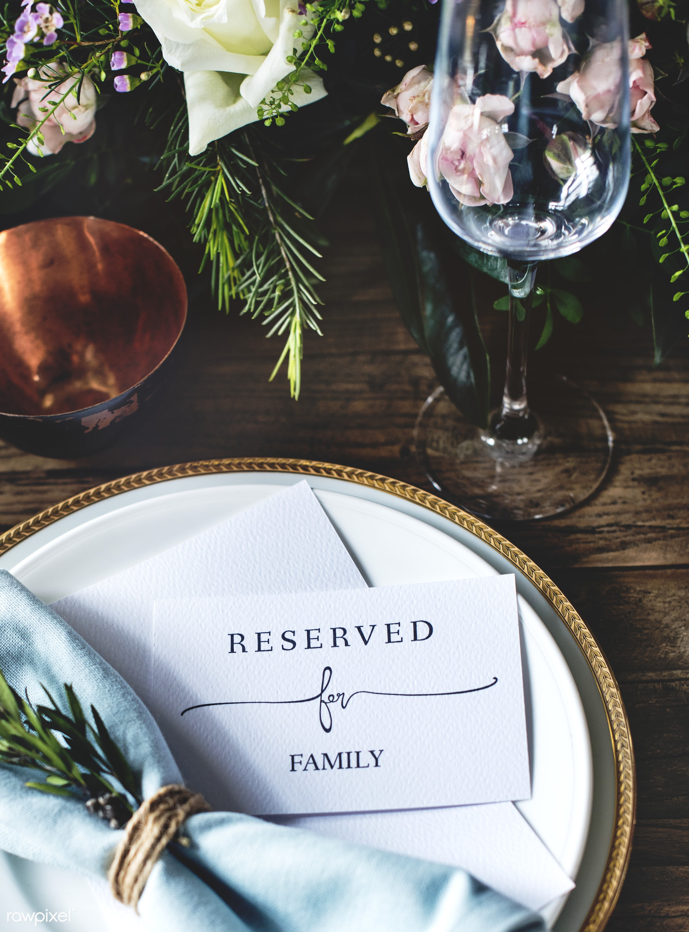 Elegant Restaurant Table Setting Service for Reception with Reserved Card - reserved, arrangement, banquet, card, catering,...
