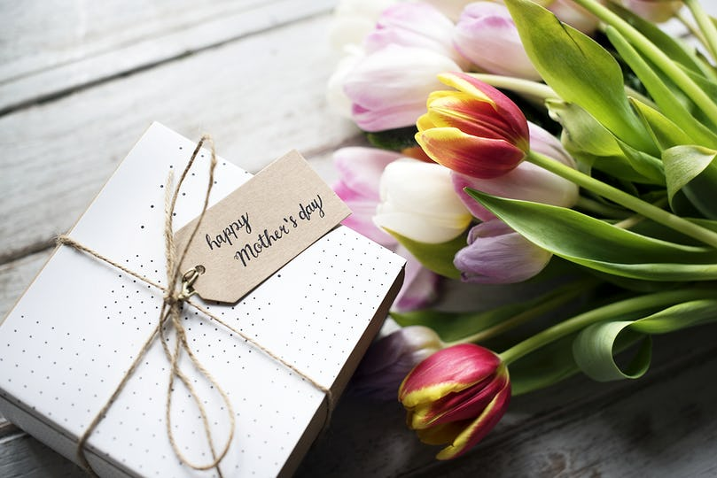 Tulips Bouquet with Happy Mother Day Wishing Card and Gift Present