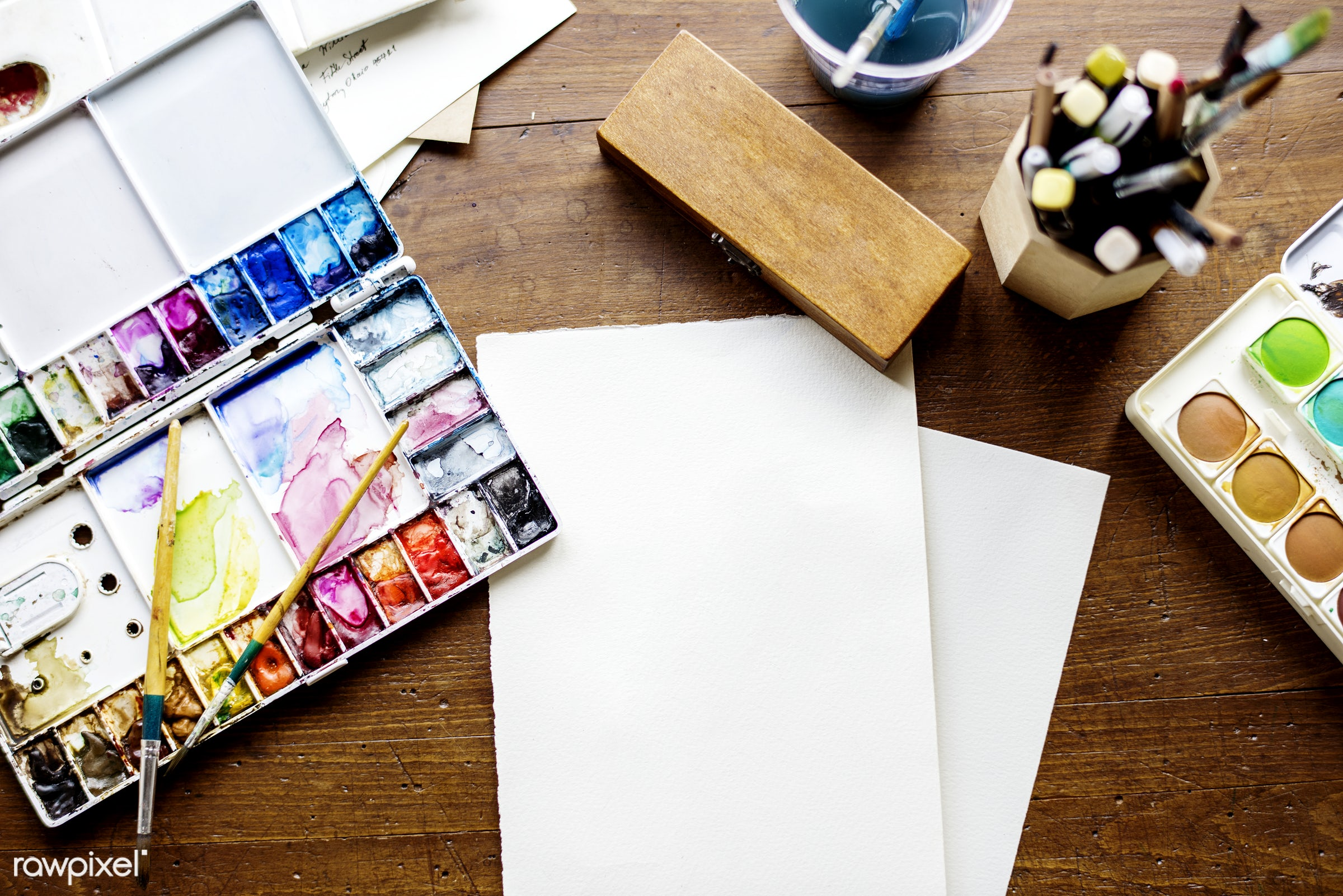 Watercolor materials on the table - watercolor, materials, objects, table, flat lay, paper, art, painting, drawing, skill,...