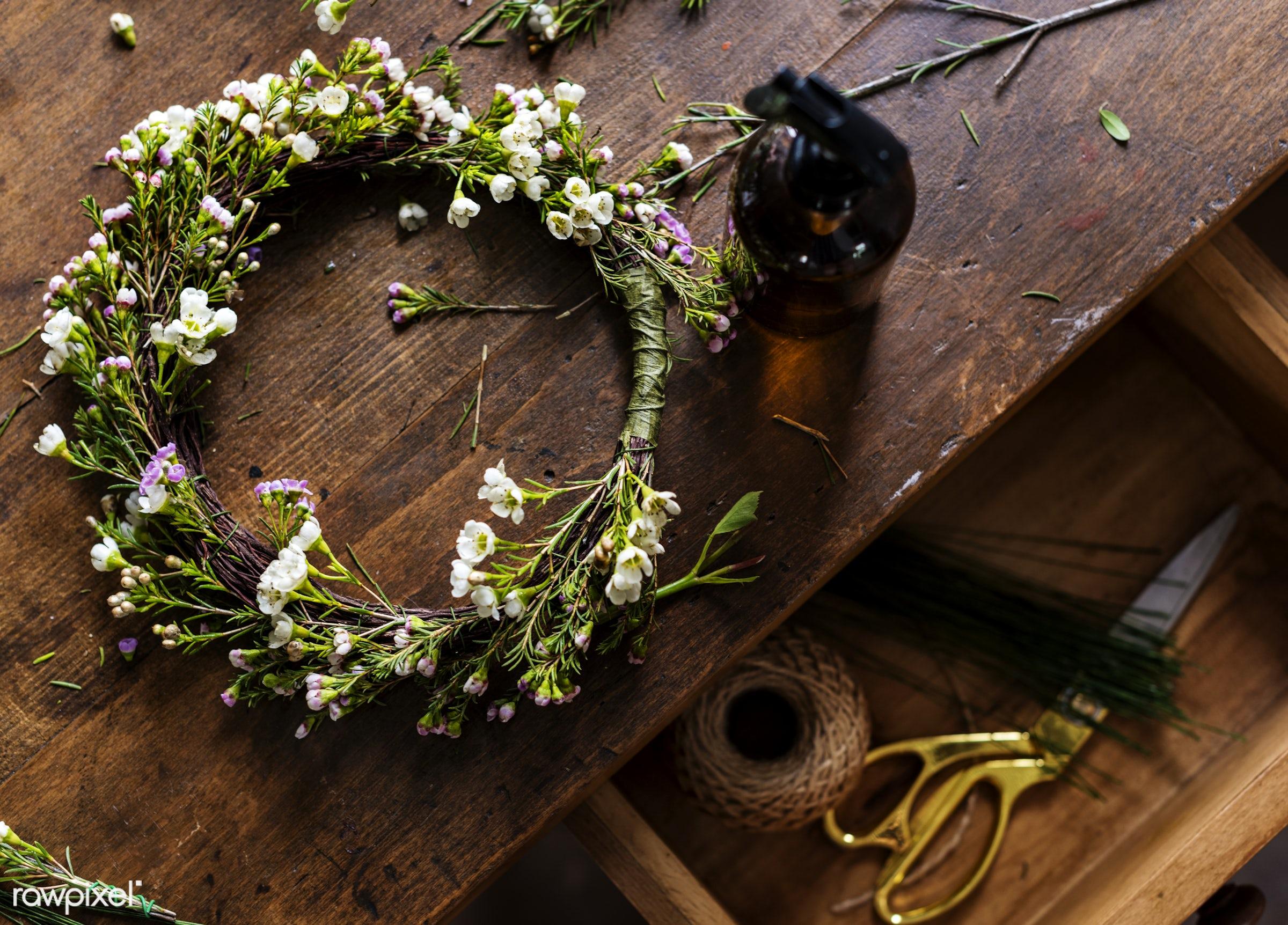 tools, workshop, hobby, skill, wreath, flowers, decoration, art, drawer, wooden, table, desk, arrangement