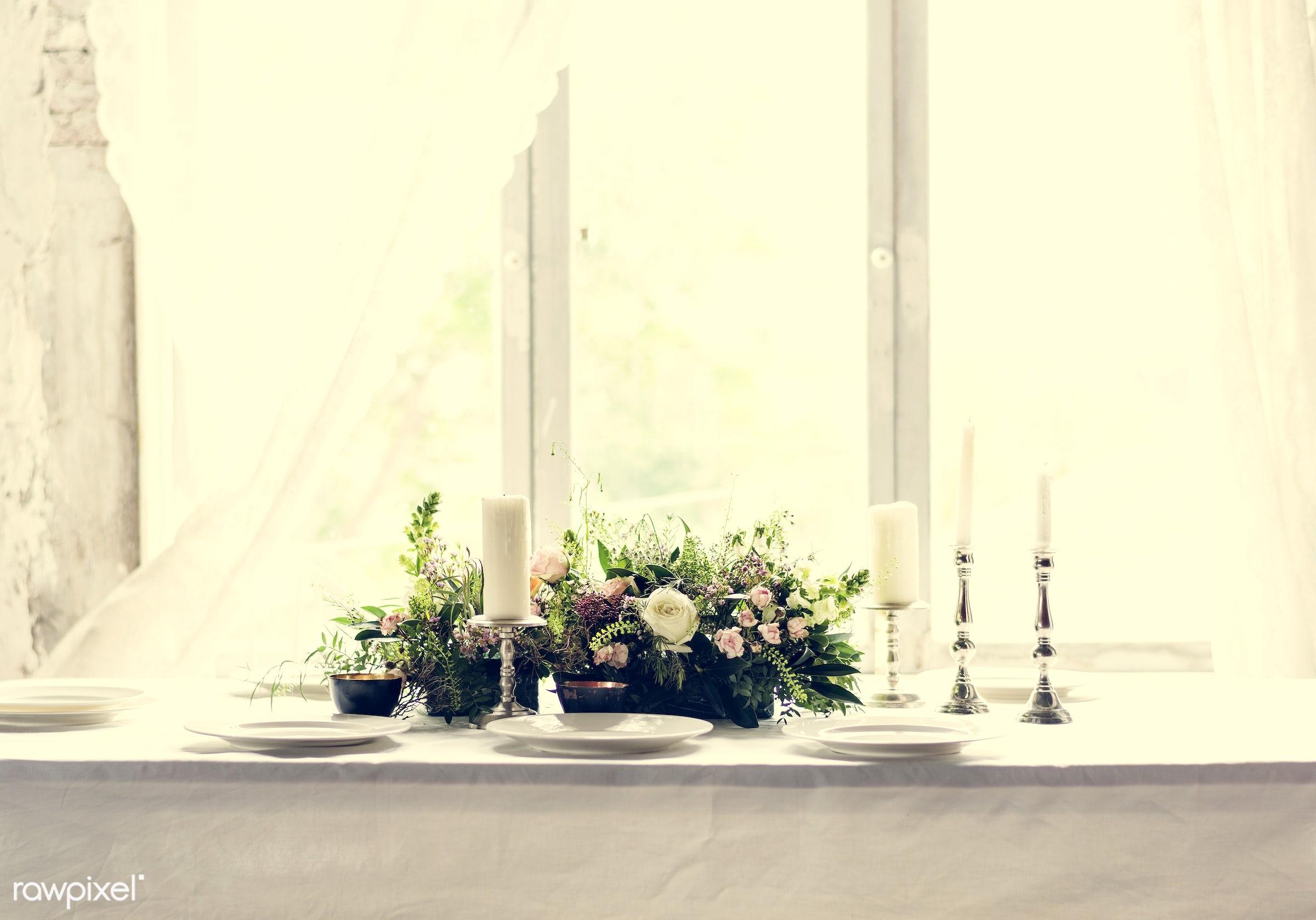 dish, nobody, fancy, cutlery, hydrangea, leaf, silverware, leaves, party, decor, tablecloth, event, gather, lunch, flower,...