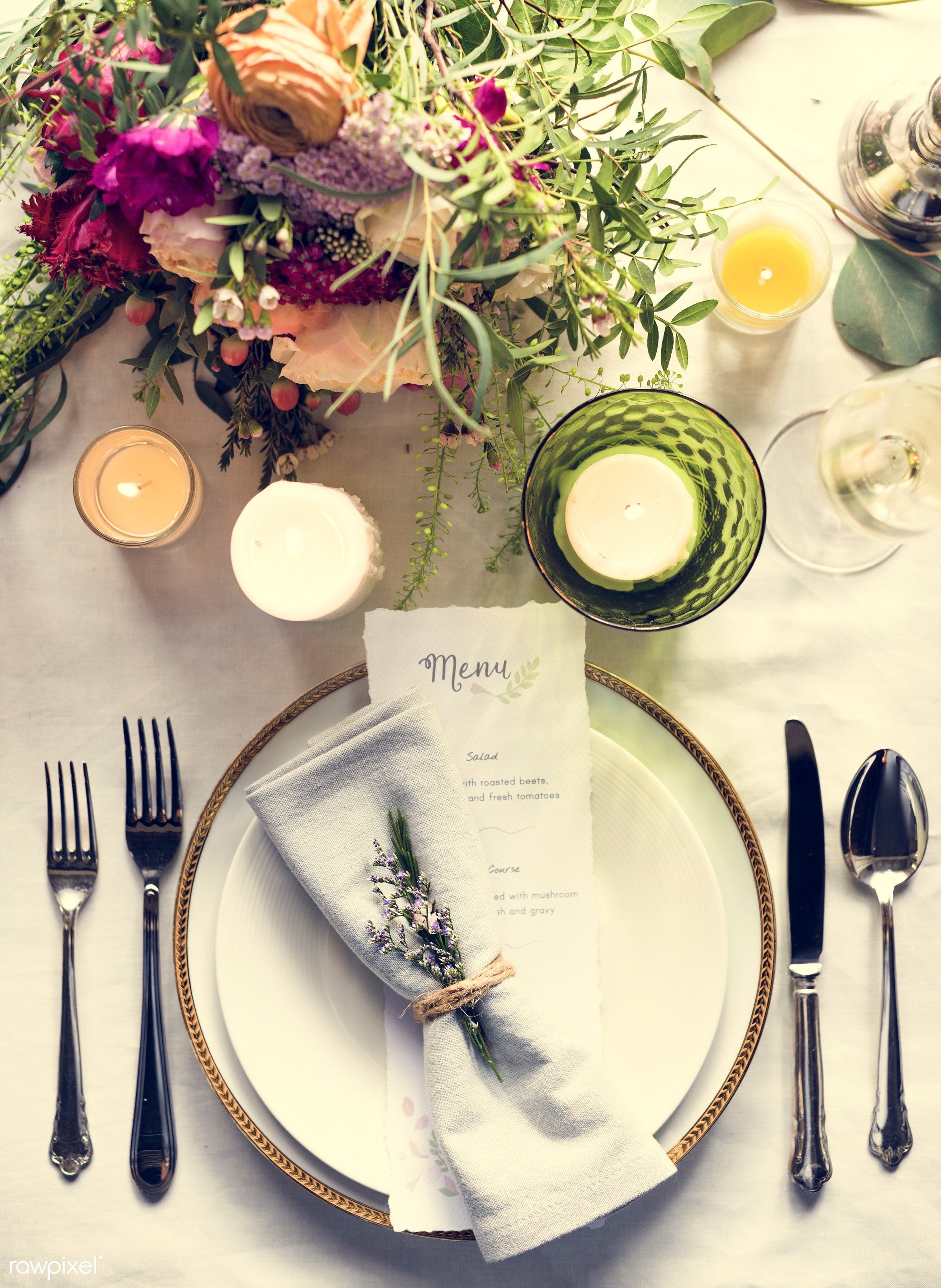 dish, bouquet, fancy, cutlery, silverware, leaf, leaves, party, decor, tablecloth, event, gather, candles, card, banquet,...