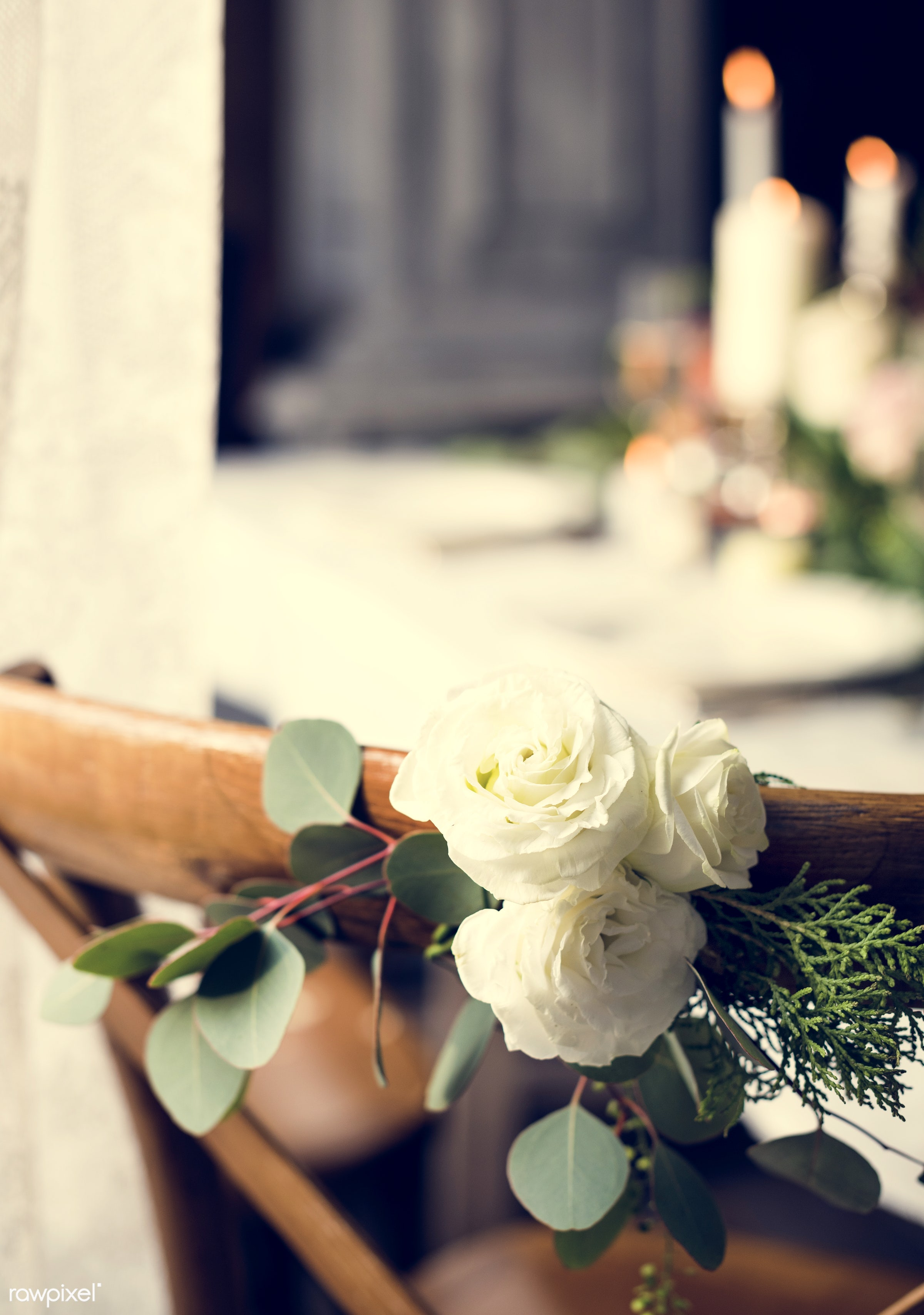 expression, nobody, wrapped, simple, leaf, leaves, decor, white rose, fresh, seat, banquet, pine, flowers, celebrate, flower...