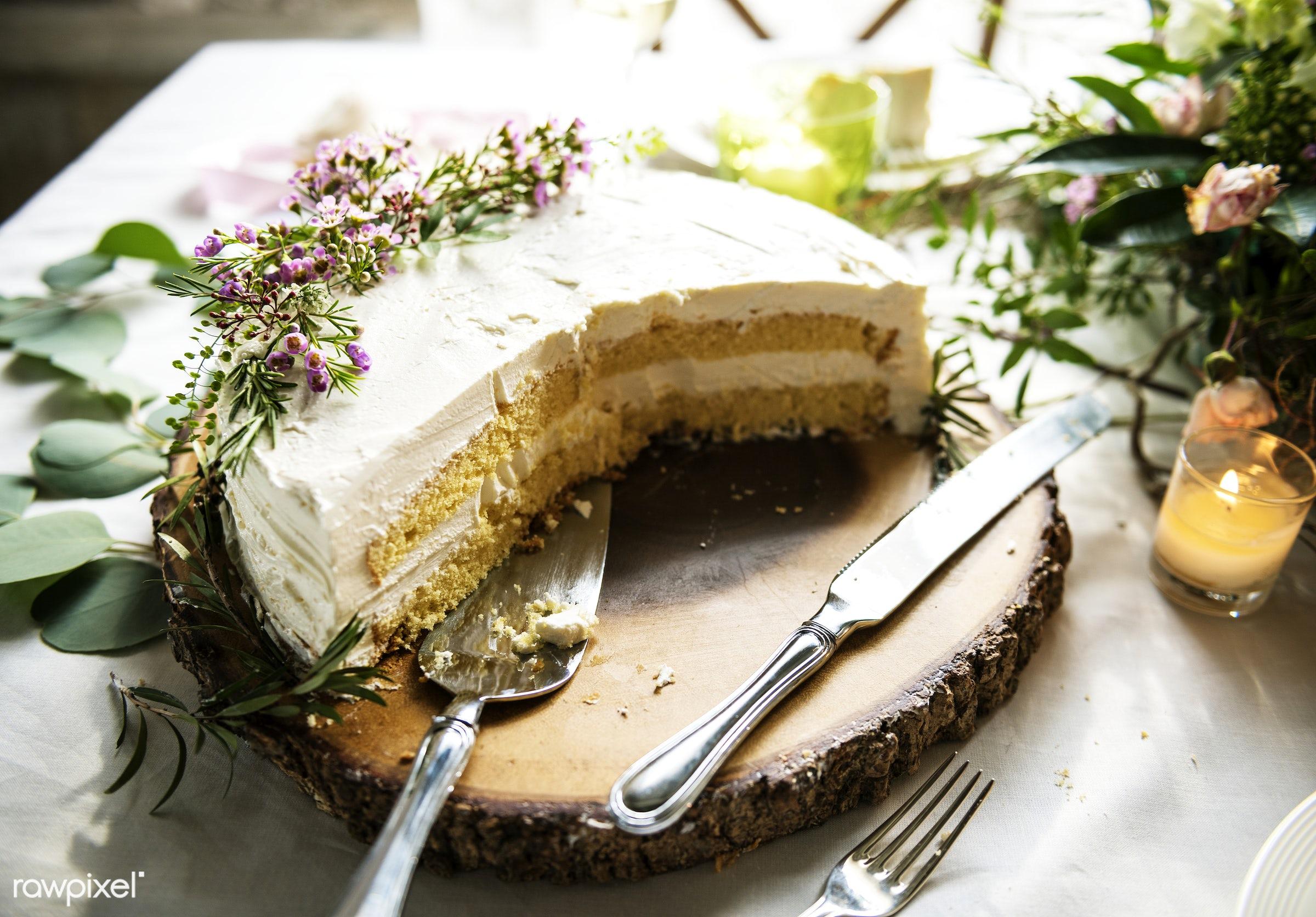 Closeup of floral wedding cake design - closeup, cake, celebration, decoration, design, dessert, event, floral, flowers,...