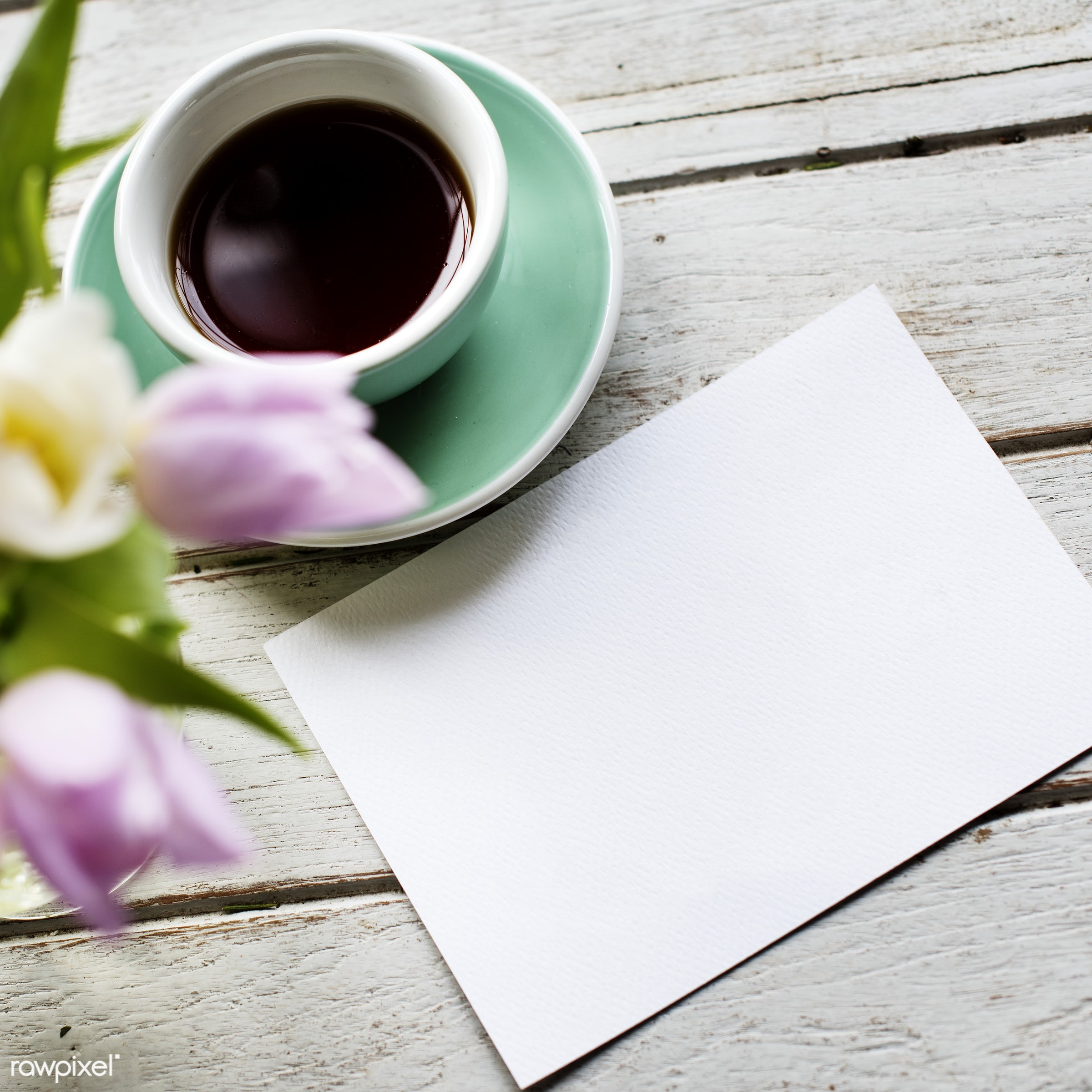 Blank note with a cup of coffee - note, paper, card, cup, coffee, aerial view, drink, flower, table, desk, objects, blank,...