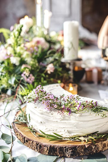 Beautiful Cut Shared Cake on Wedding Reception