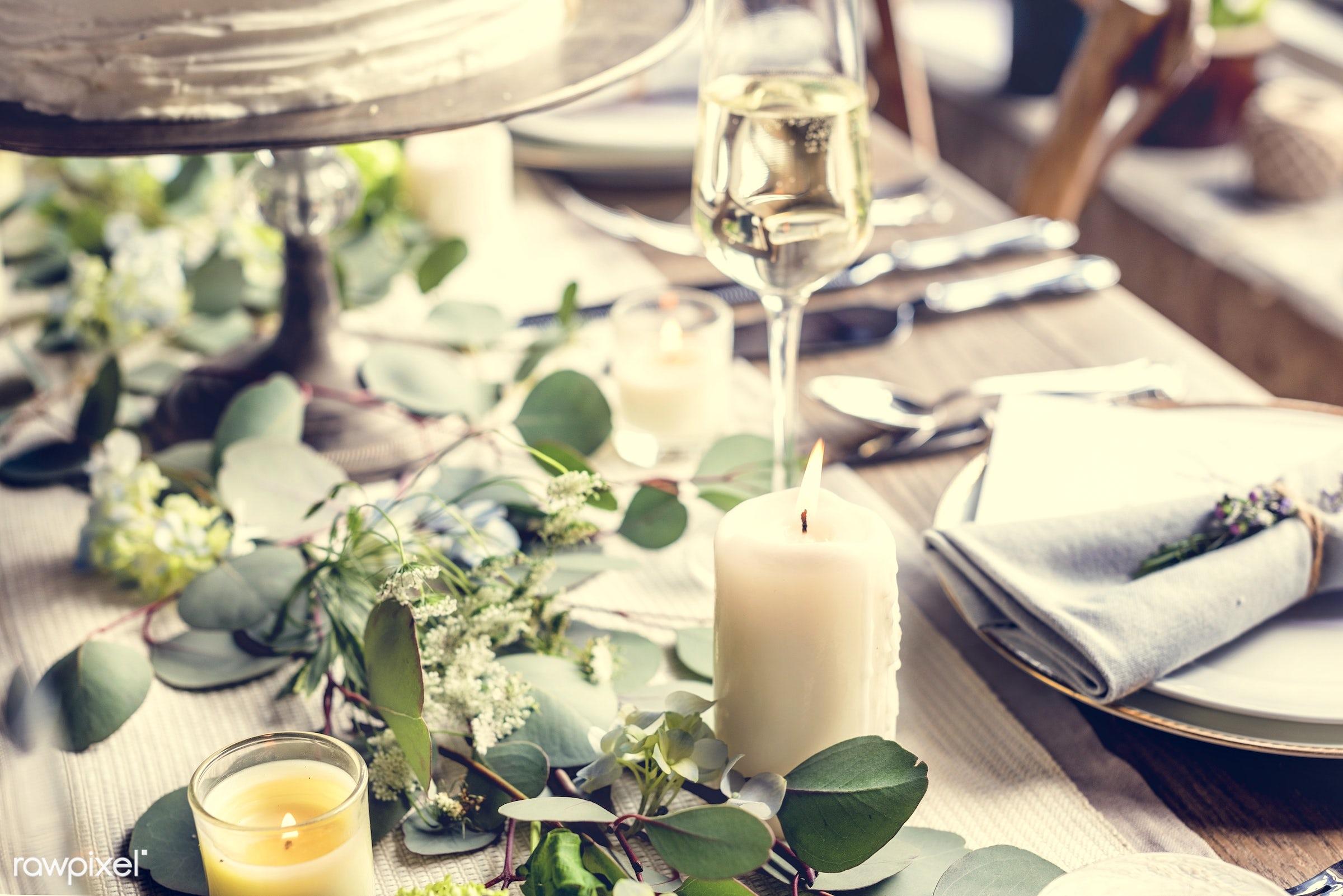 dish, nobody, fancy, cutlery, hydrangea, leaf, silverware, leaves, party, decor, tablecloth, gather, event, lunch, flower,...