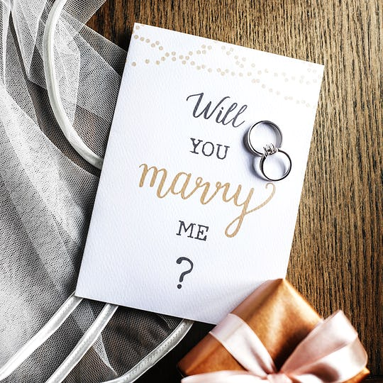 Will you marry me proposal card with wedding rings
