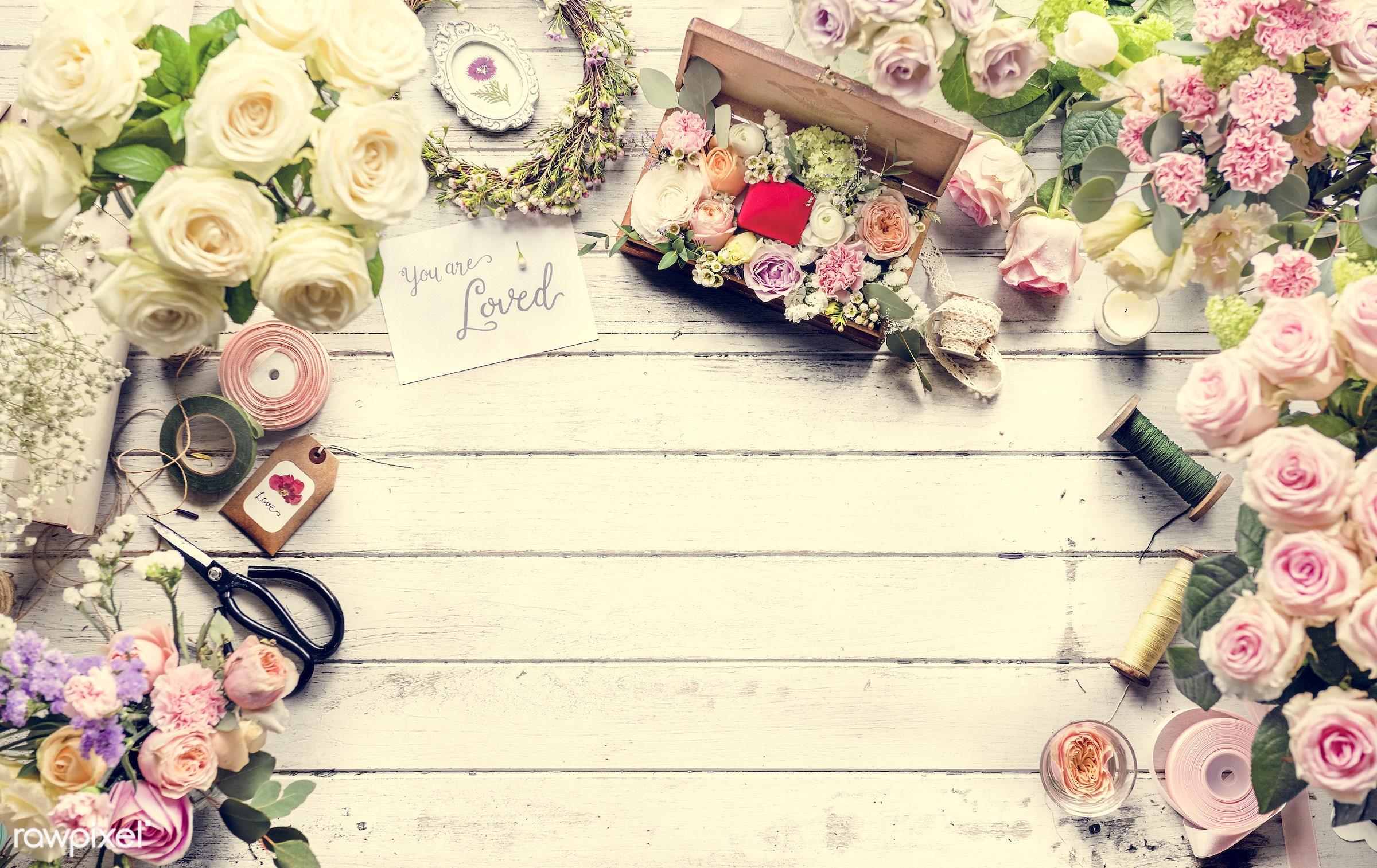 bouquet, nobody, detail, show, decor, are, nature, card, flowers, work, carnation, florist, rose, arrangement, statis, twine...