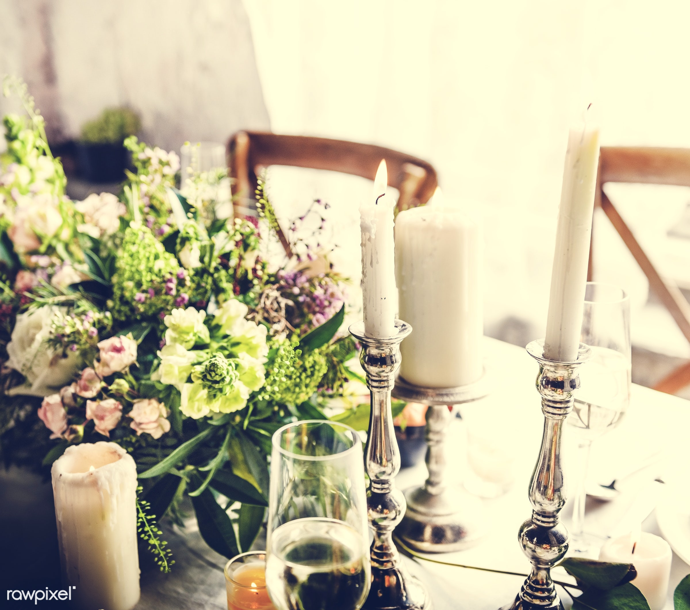 ornate, catering, silverware, restaurant, party, setting, decor, candle, tablecloth, event, banquet, lunch, meal, romance,...