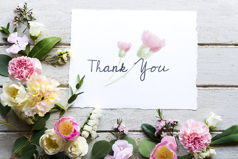 Flowers withThank You Wishing Card