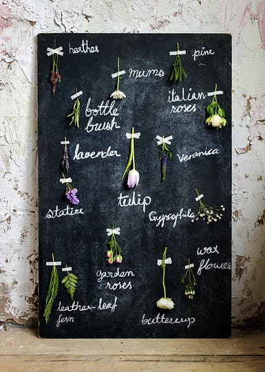 Dried Flowers with Name Attached on Black Board Handmade
