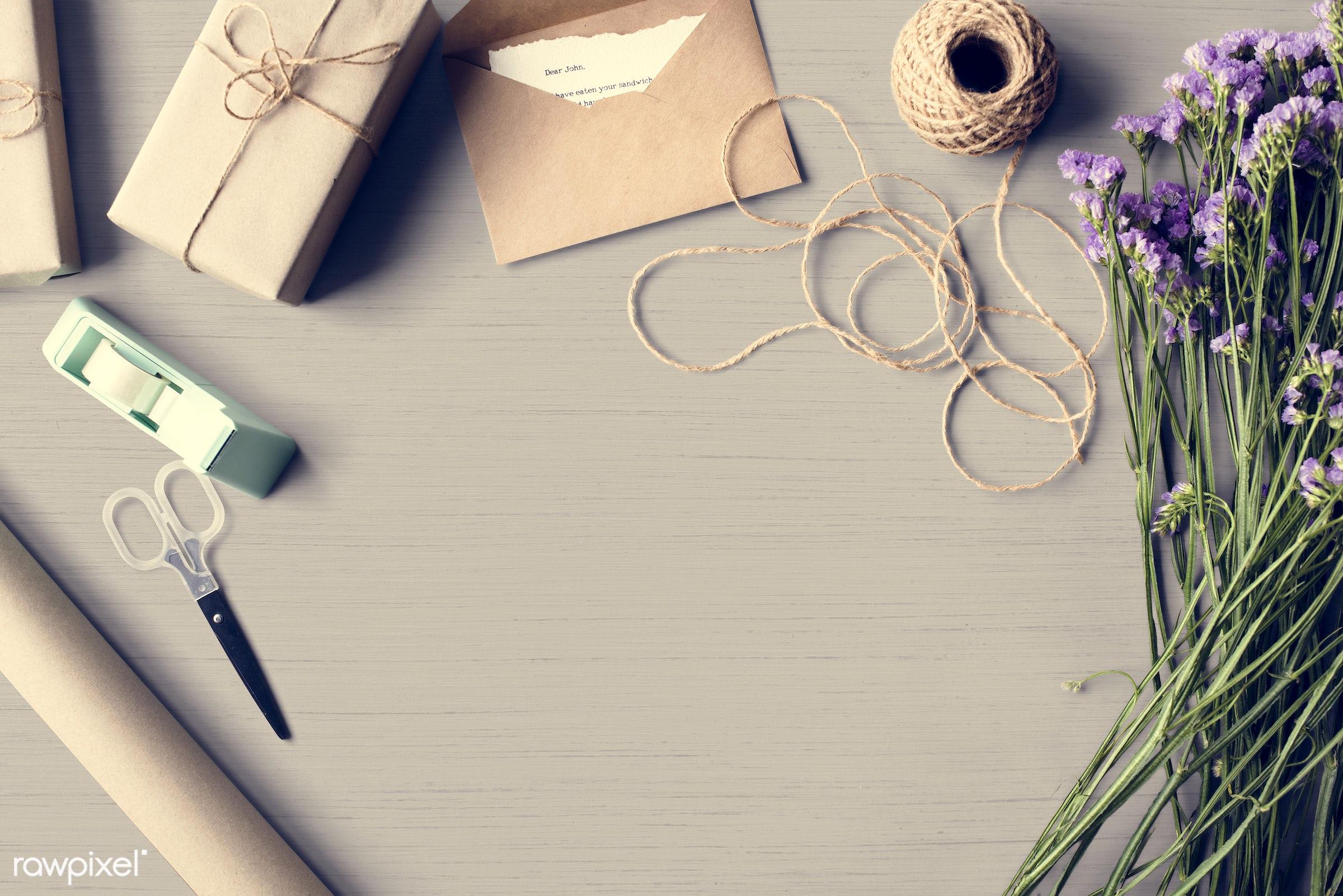 nobody, detail, envelope, decor, nature, flowers, letter, refreshment, florist, present, statis, arrangement, twine, natural...