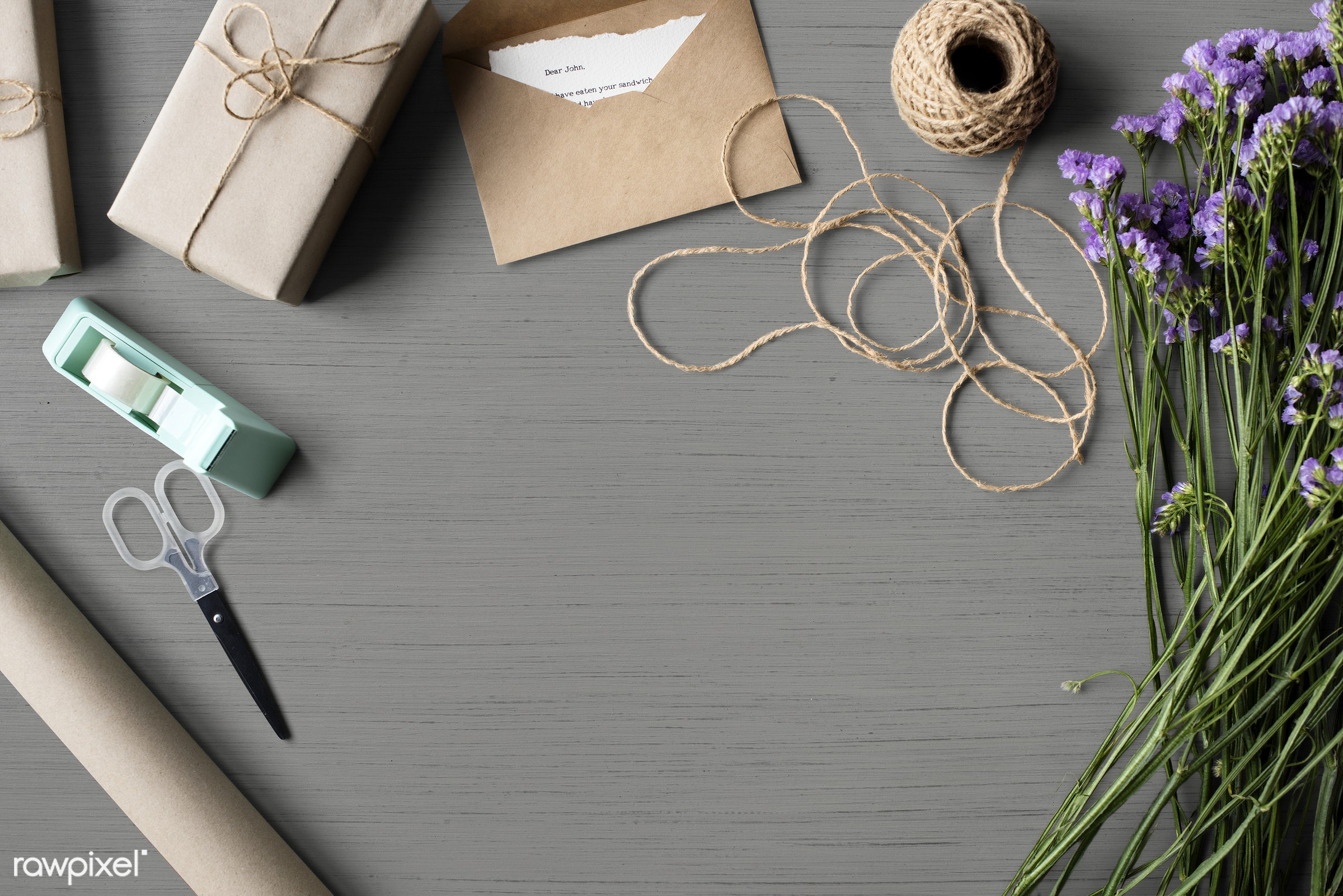 Gift wrapping design space - aerial view, attach, attached, card, copy space, design space, desk, envelope, flat lay,...