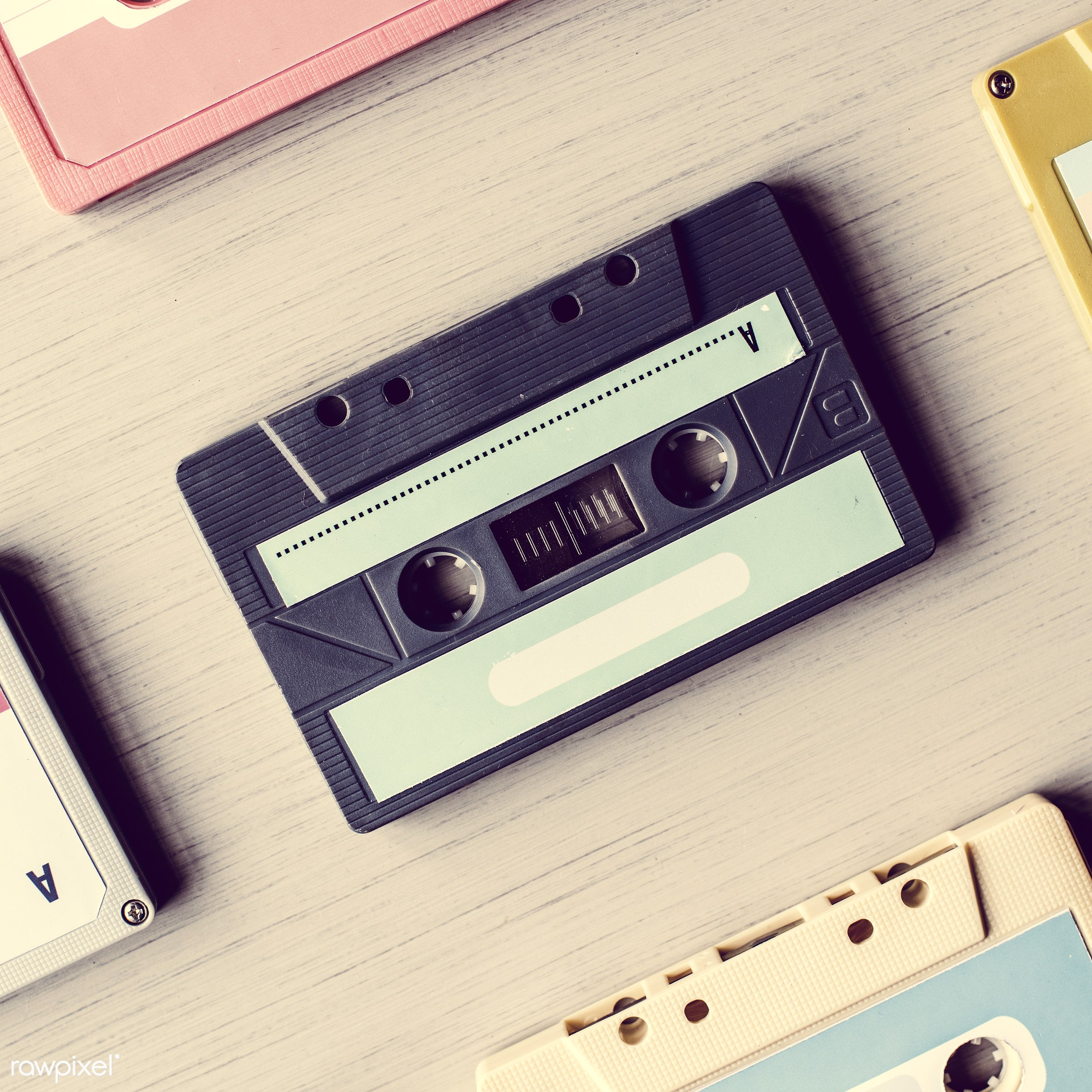 old, retro, equipment, tape, collection, used, aged, compact, style, cassette, classic, music, audio, vintage, obsolete, old...