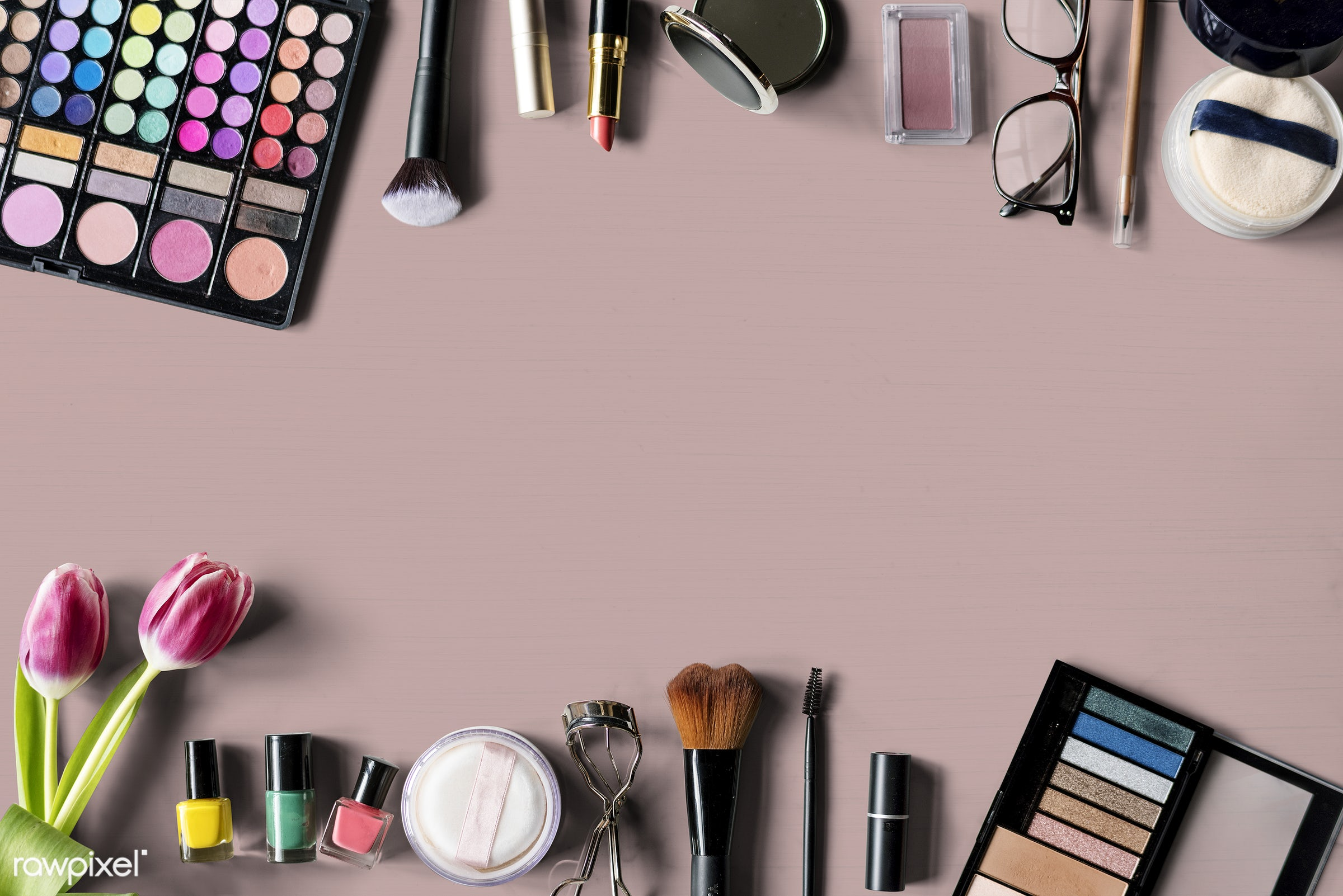 Ariel view of make up products - cosmetic, makeup, fashion, attach, attached, beauty, blush, brushes, care, collection,...