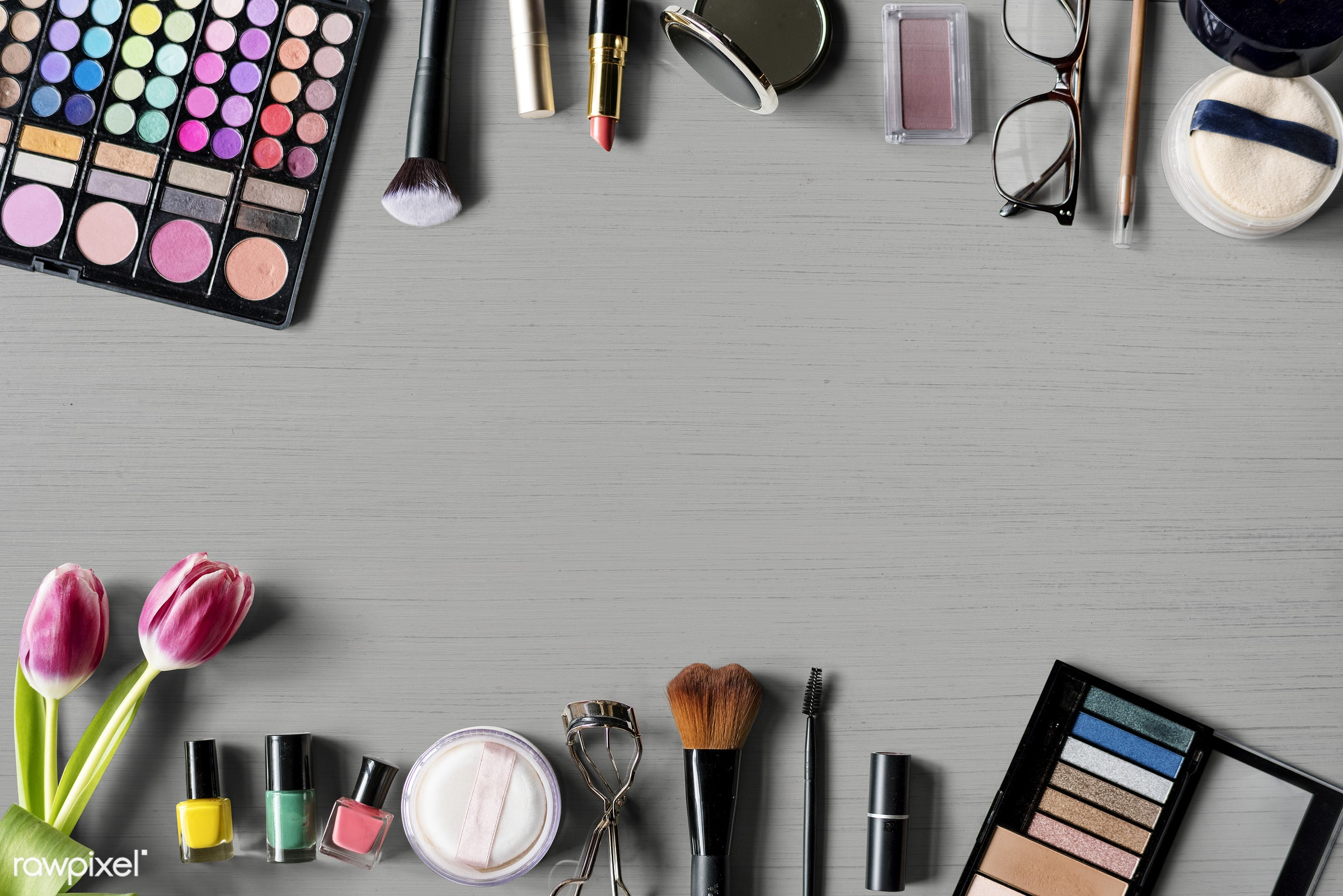 Design space on table with make up cosmetics - makeup, attach, attached, beauty, blush, brushes, care, collection, colors,...